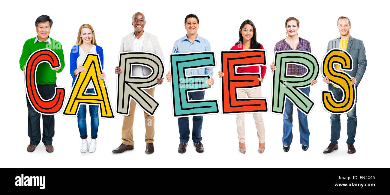 Group of People Standing Holding Careers Letter - Stock Image