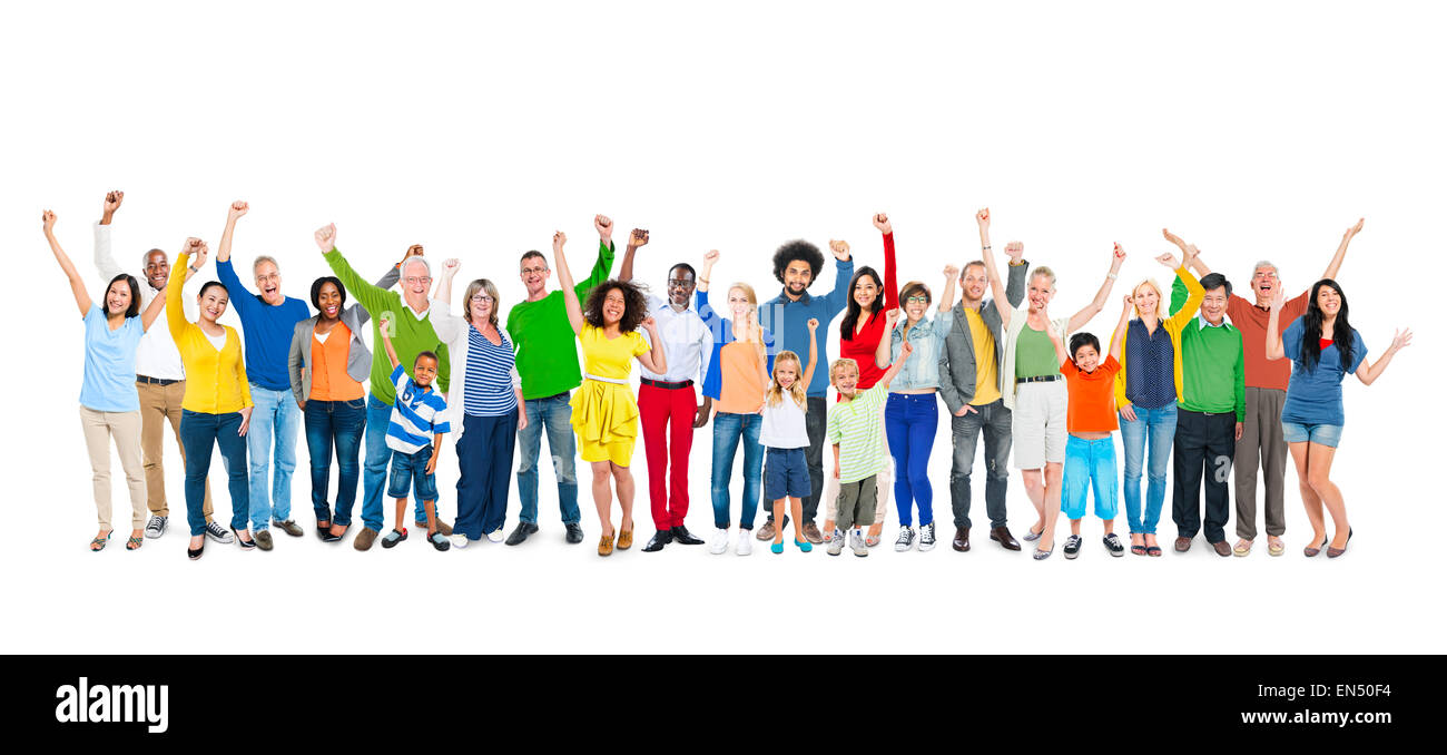 Group of People Hands Raising - Stock Image