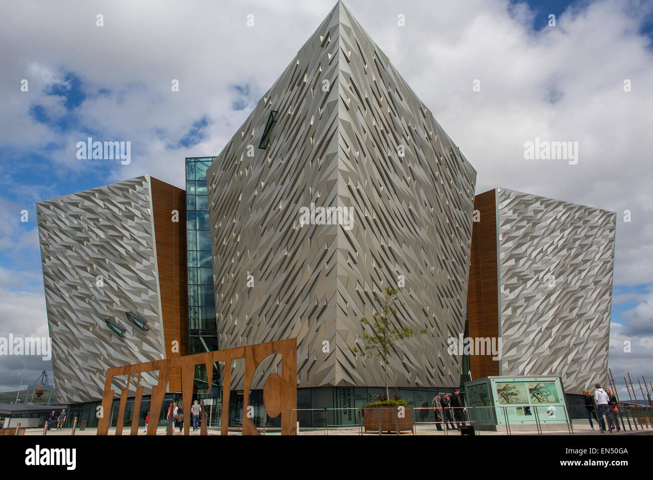 Titanic Belfast is a $165 million visitor attraction centrer - Stock Image