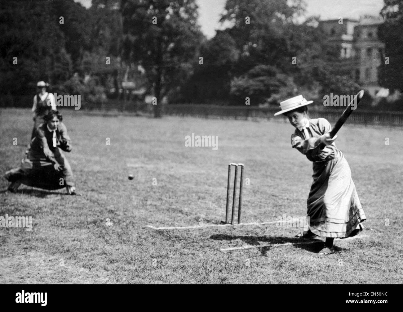 Female cricketer of The Regents Ladies Games Club in action. 4th July 1908. Stock Photo