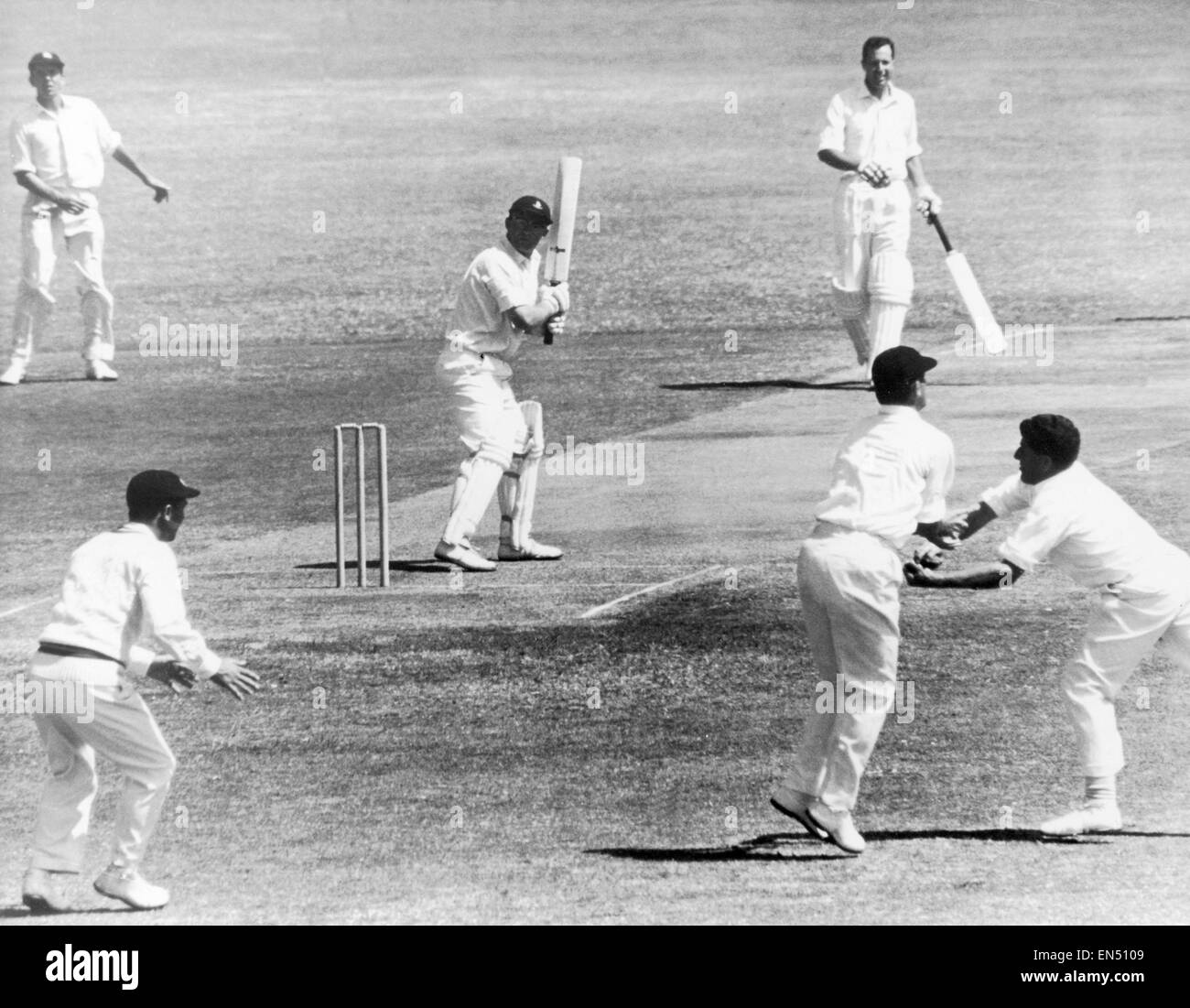 M.C.C tour of South Africa 1964. Barlow opening batsman for S.A is caught by Barrington and Dexter. - Stock Image