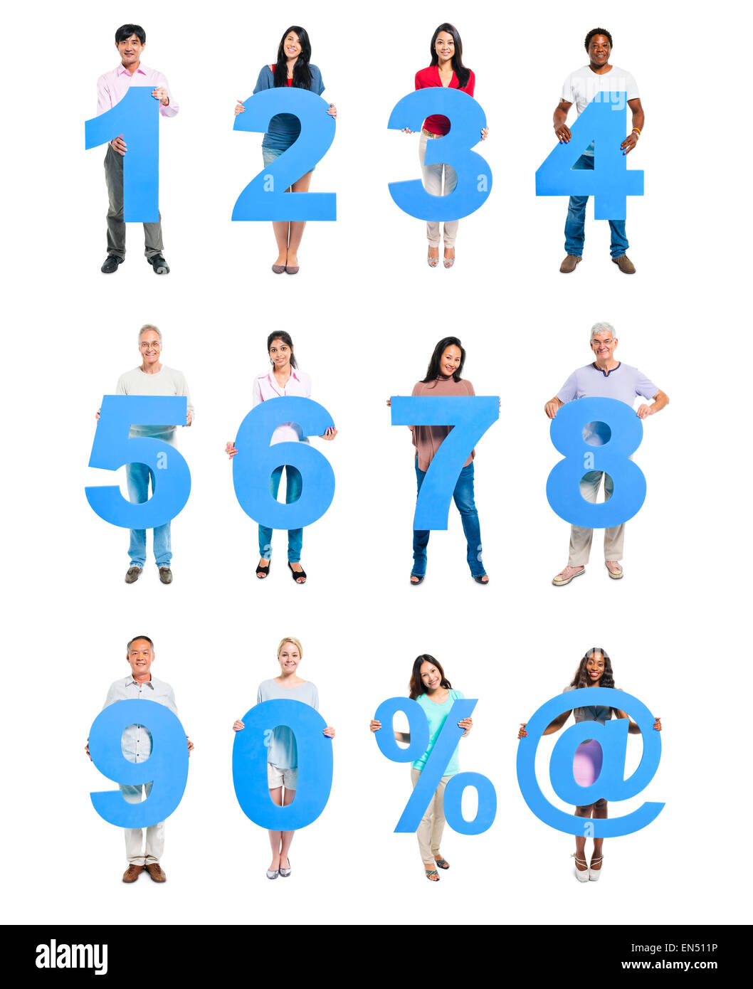 Group of People Holding Blue Numeral in a Row - Stock Image