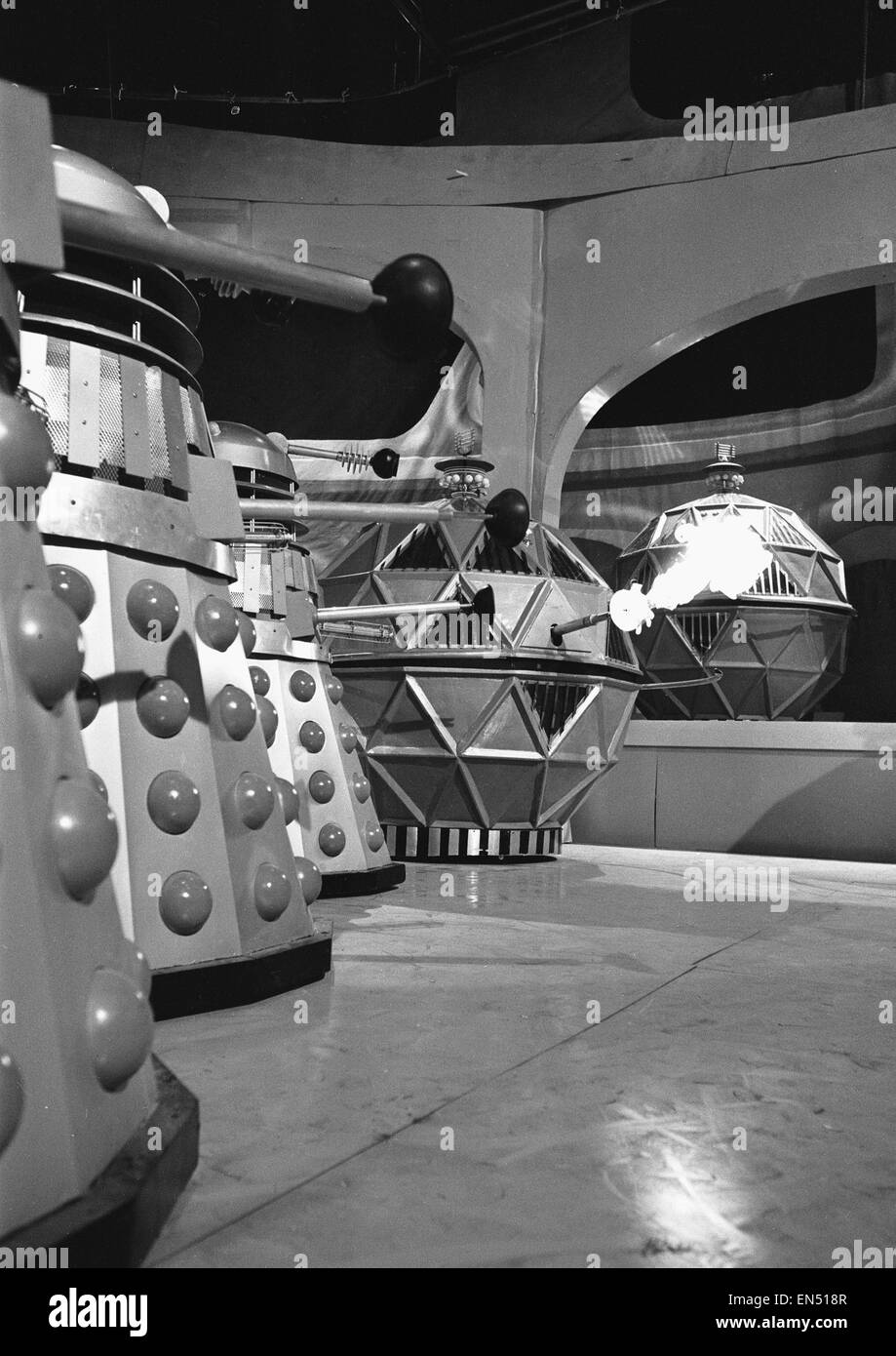 A scene from the Dr Who tv series, the story is called 'The Chase' The scene show a confrontation between - Stock Image