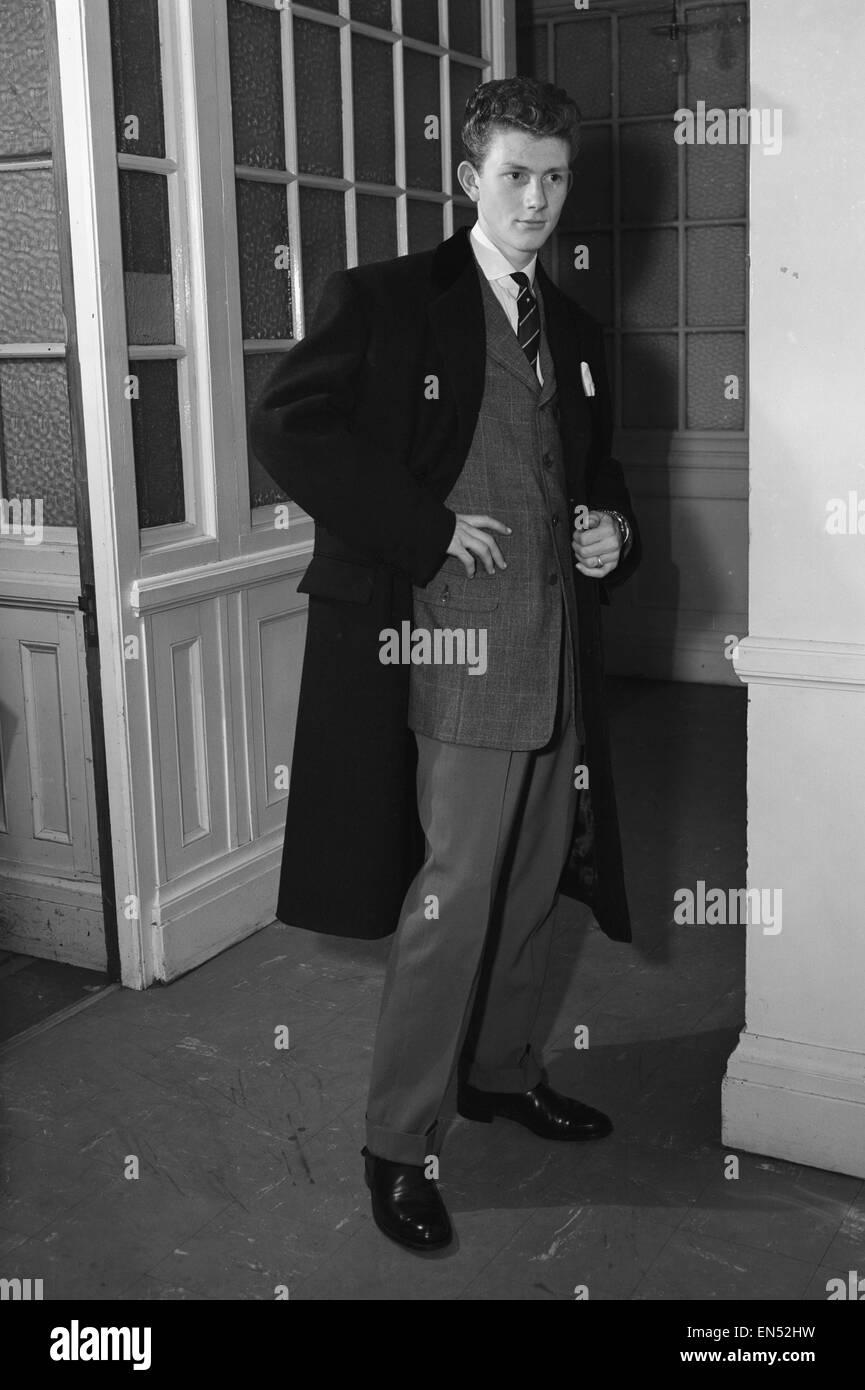 Youth modelling the latest fashion Edwardian suits. 11th November 1955 - Stock Image