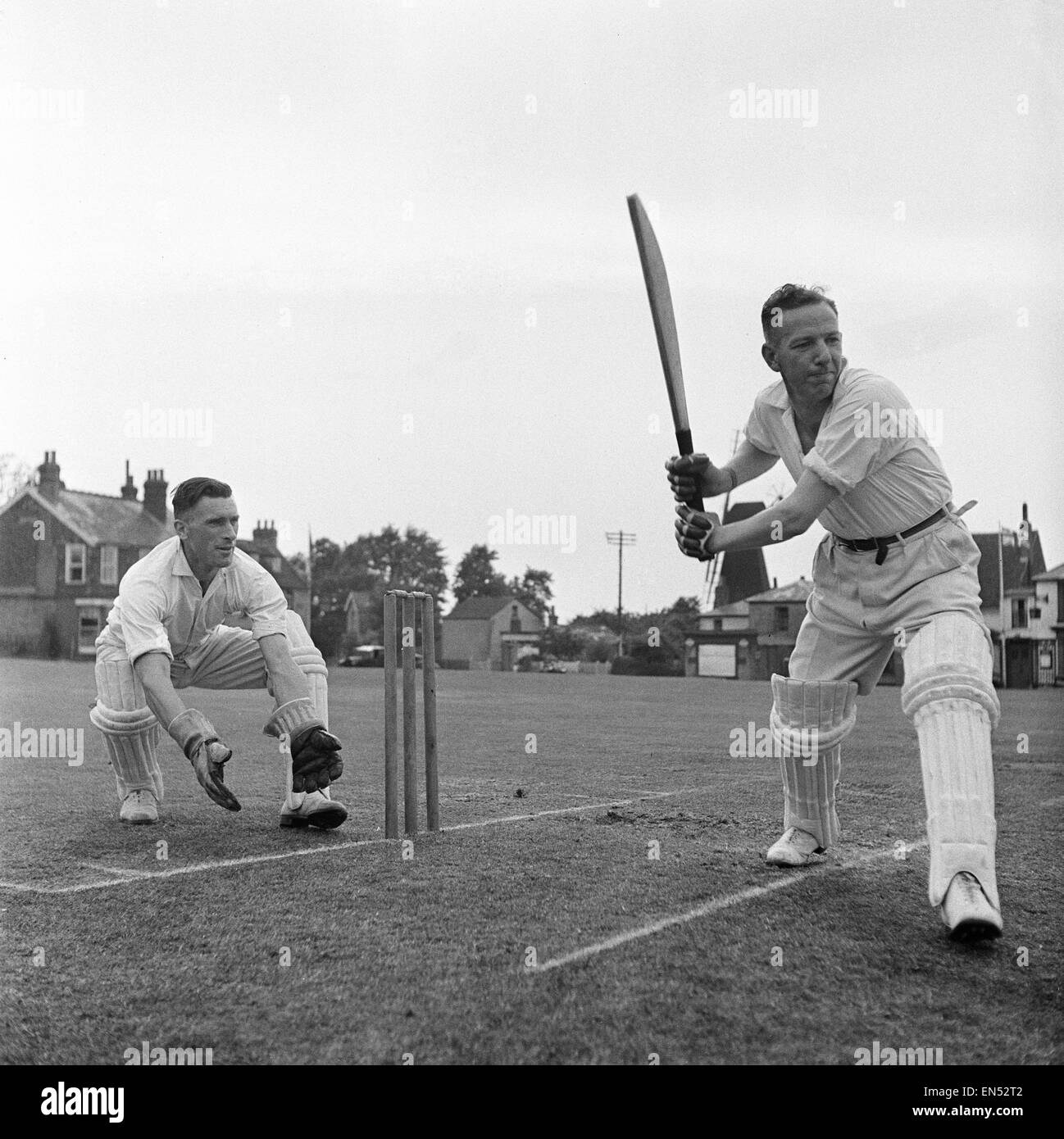 Batsman of the local cricket team at Meopham one of the oldest teams in Kent seen here in action Circa June 1950 - Stock Image