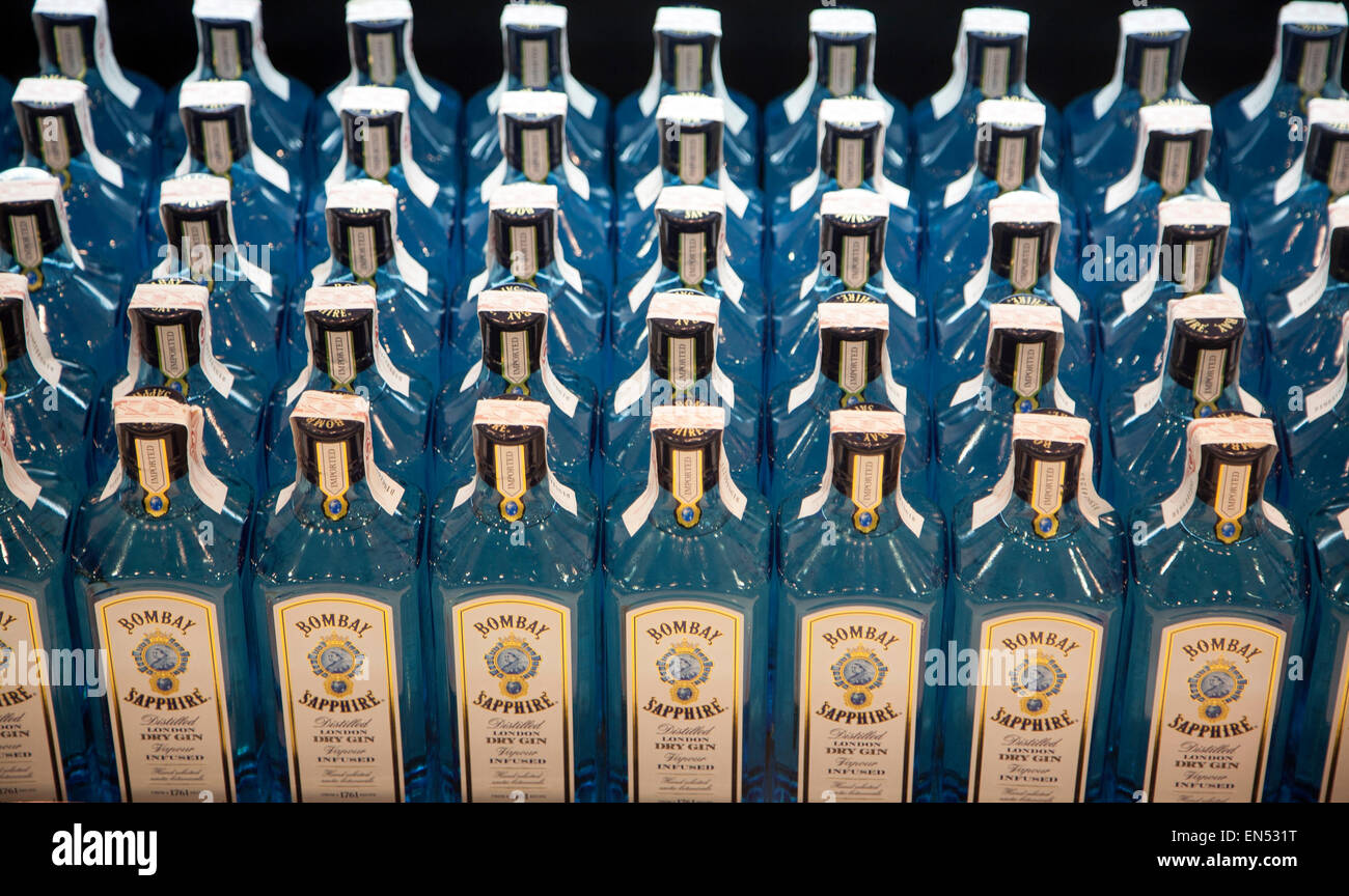Close up of bottles of Bombay Sapphire gin in the Duty Free shopping lounge in Malaga airport, Spain - Stock Image