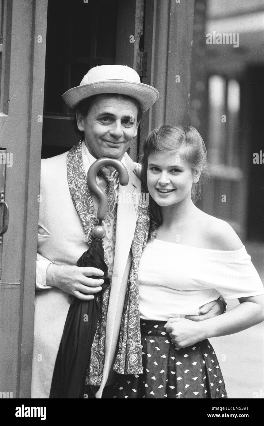 Dr Who alias Sylvester McCoy seen here at a press conference to promote the new series seen here with Sophie Aldred - Stock Image
