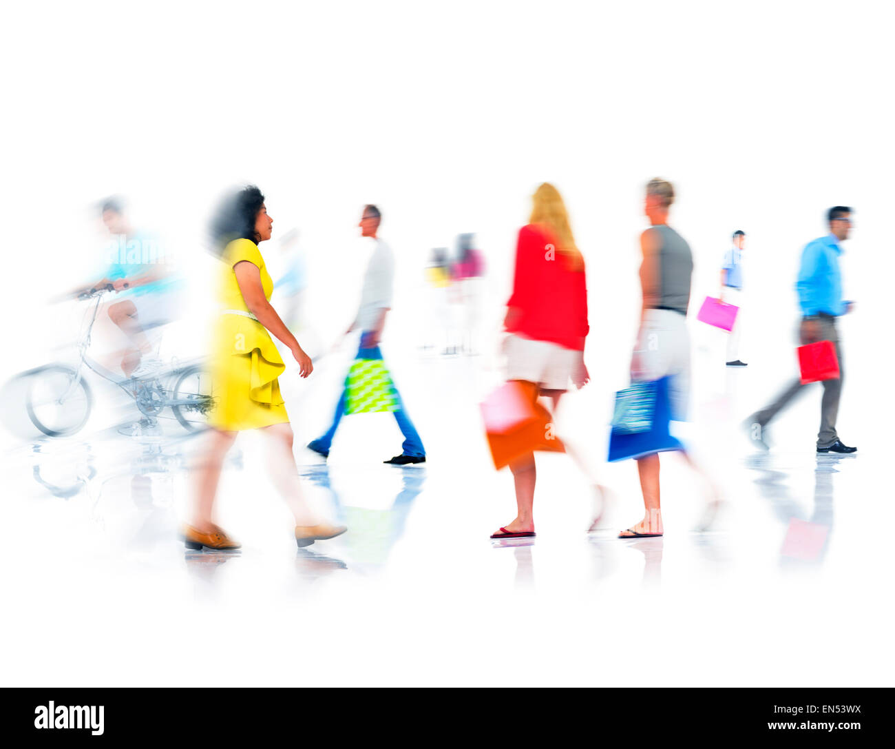 Group of  Diverse Busy People Shopping - Stock Image