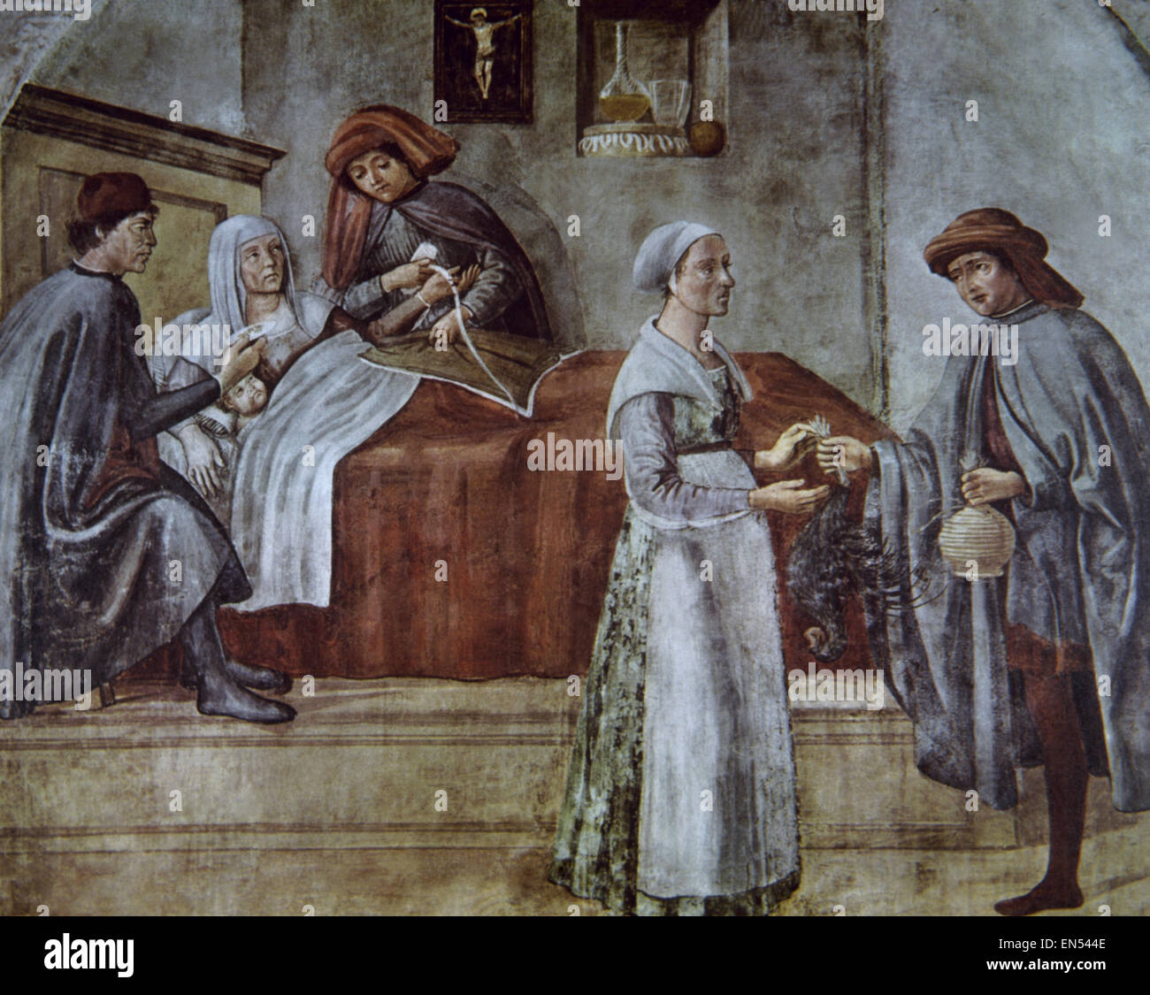 History of medicine. Parturient. Painting. 15th century. Florence. Italy. Stock Photo