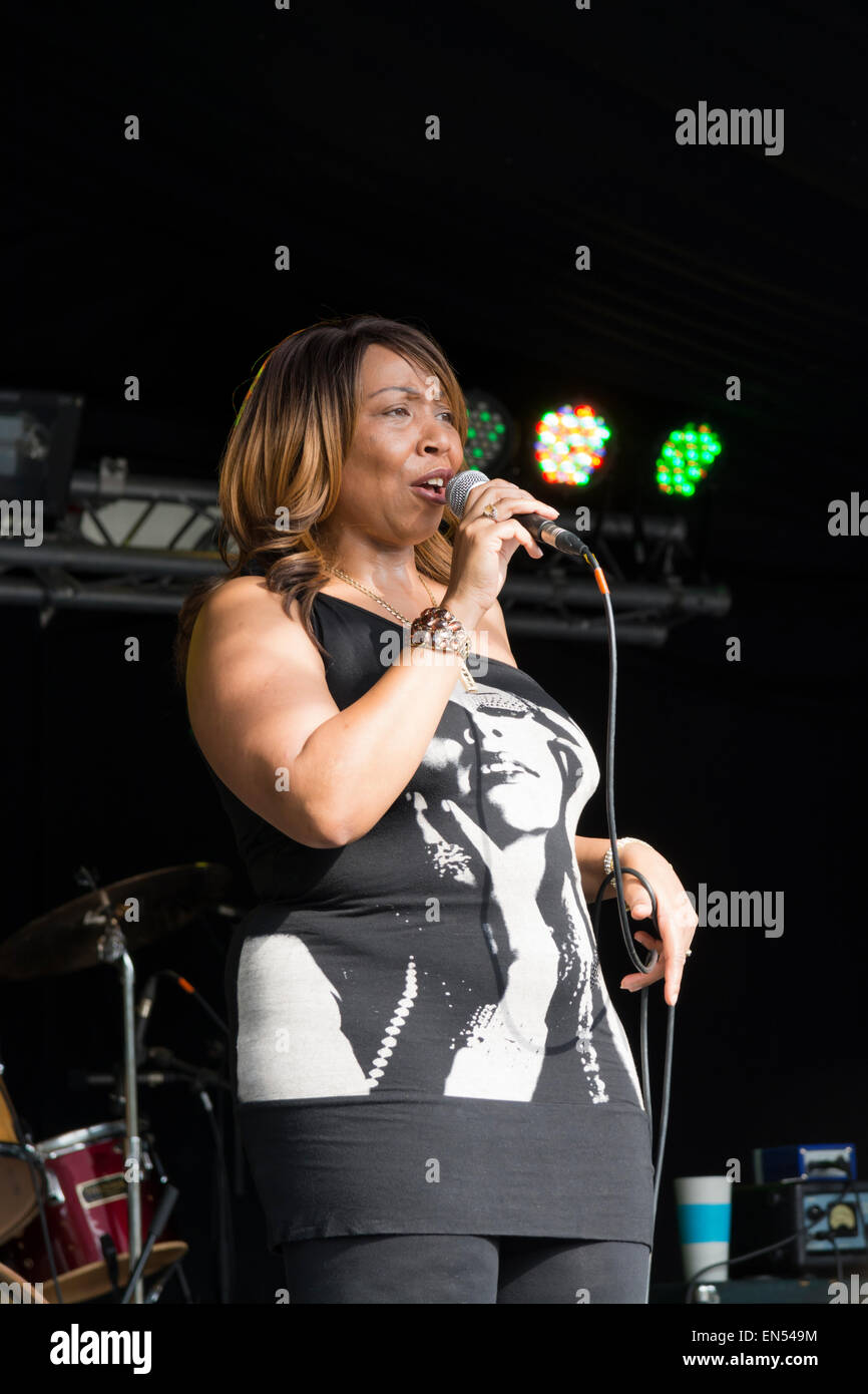 Female singer at Sheffield Tramlines  an annual music festival held in South Yorkshire England - Stock Image