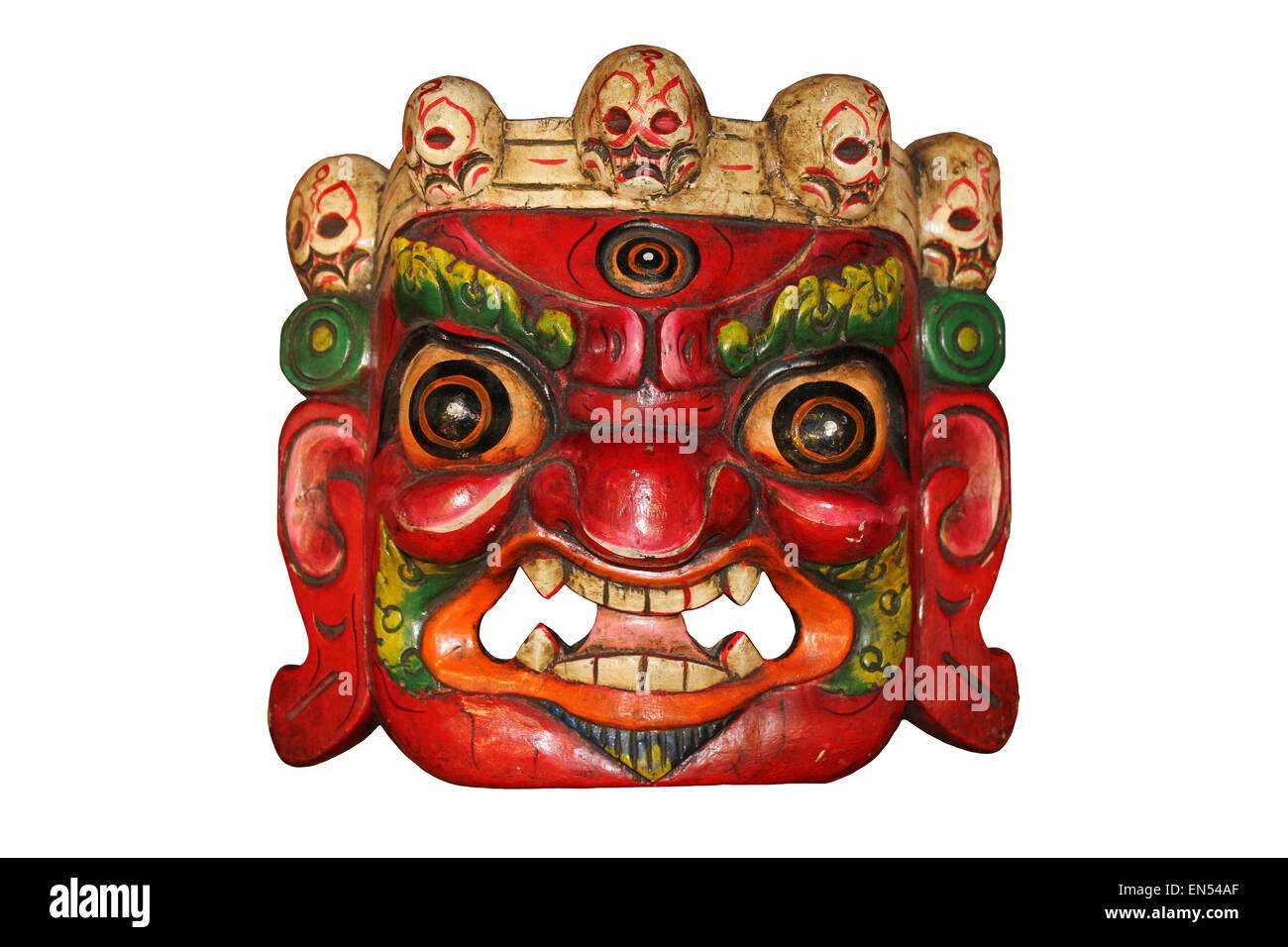 Tibetan Mahakala Skull Mask - Stock Image