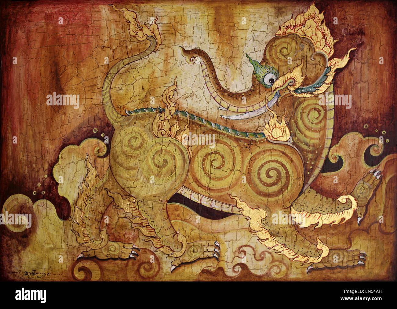 Kochasri - the Thai Mythical Creature With A Body Of A Lion And Head Of An Elephant - Stock Image