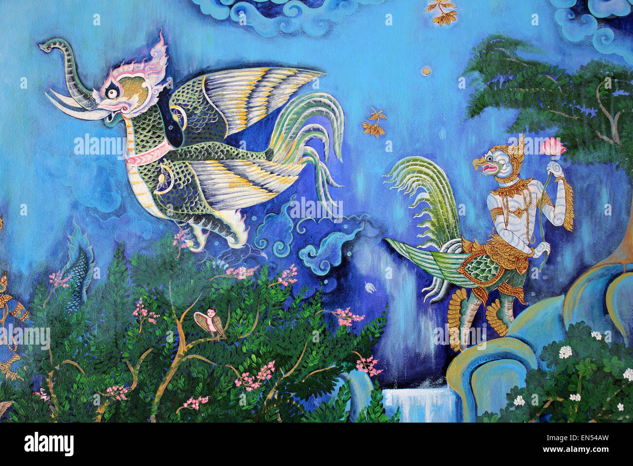 Thai Painting Depicting Mythical Creatures Of Himmavanta - Stock Image