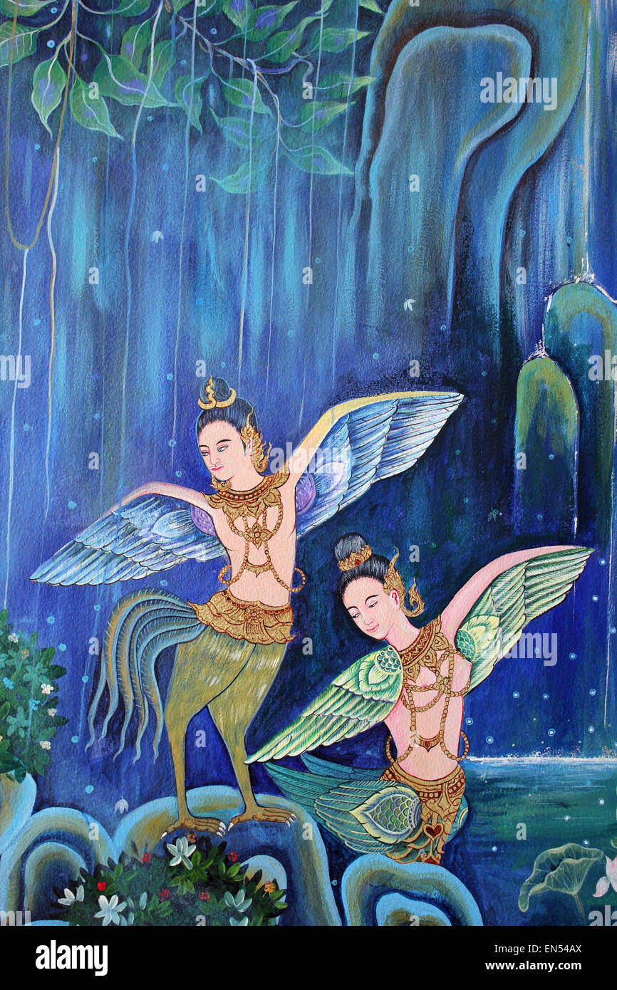 Thai Painting Blissful Himmavanta Land Of Mythical Creatures - Stock Image