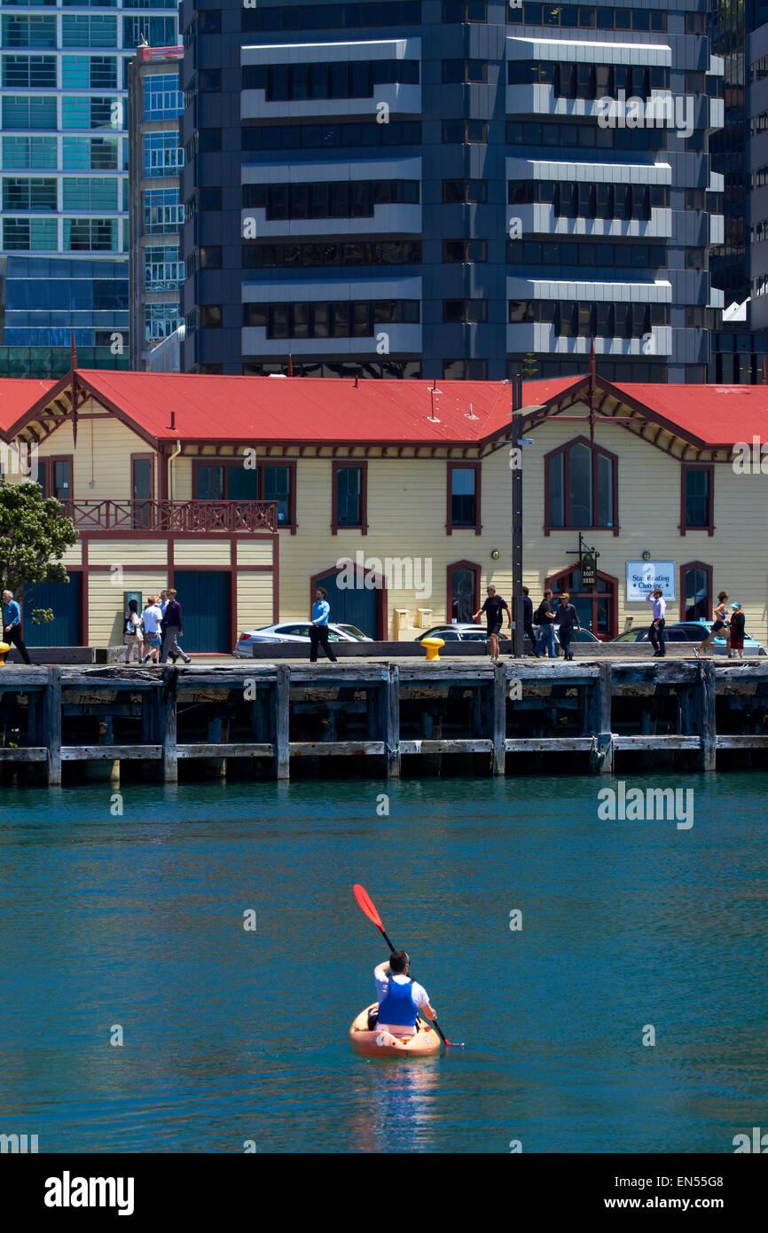 The Boatshed, Wellington Harbour, and kayaker, Wellington North Island, New Zealand - Stock Image