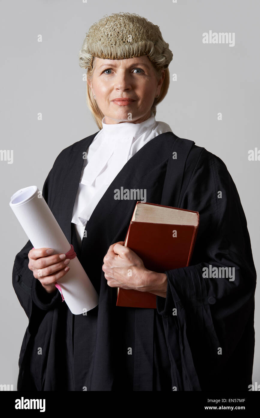 Portrait Of Female Lawyer Holding Brief And Book - Stock Image