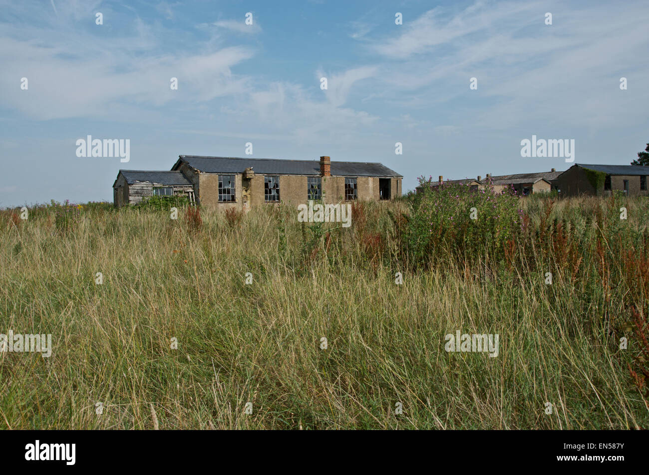 Dilapidated buildings at Stow Maries WWI Aerodrome - Stock Image