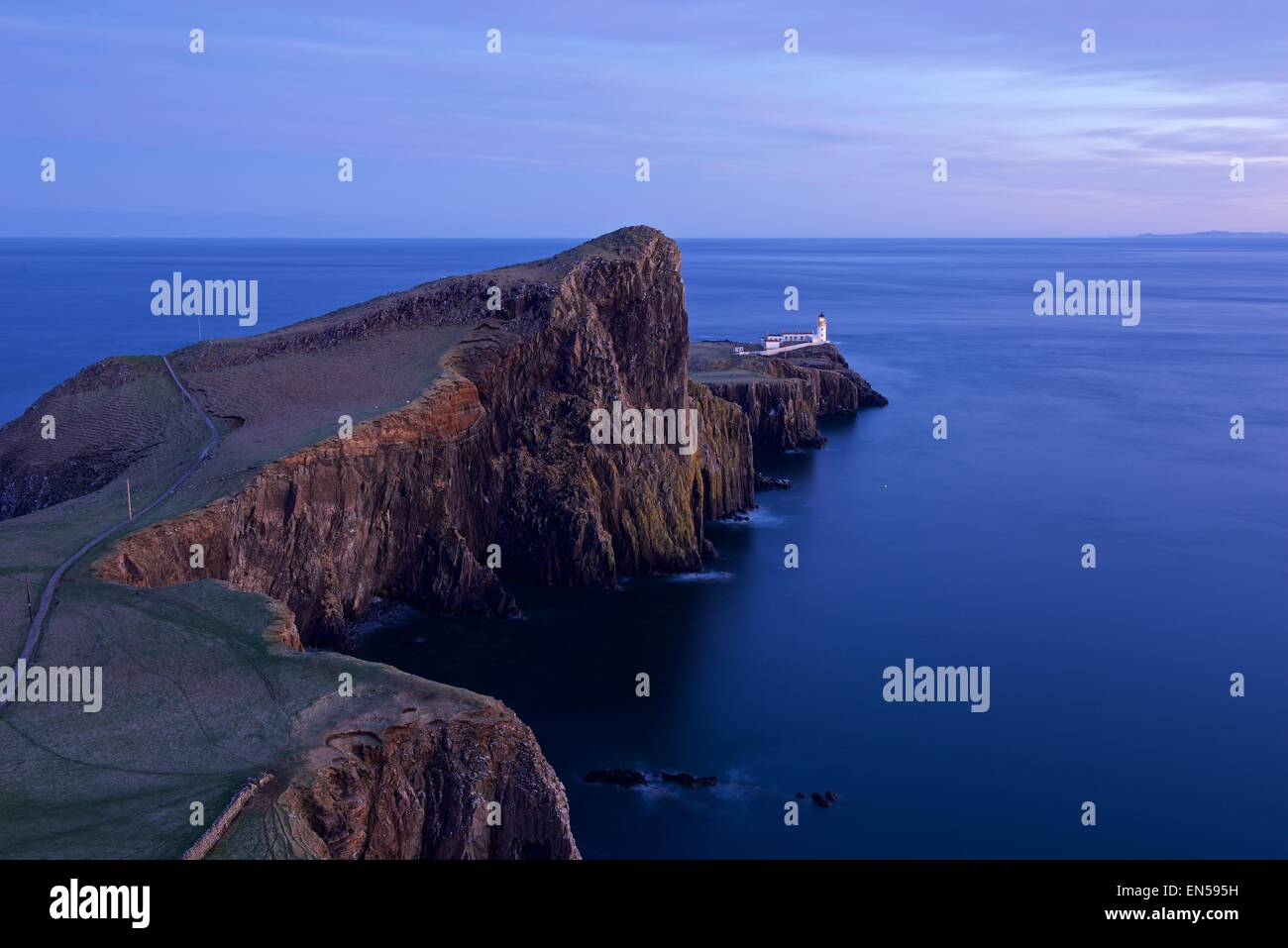 A colour image taken at dusk of Neist Point on the Isle of Skte Stock Photo