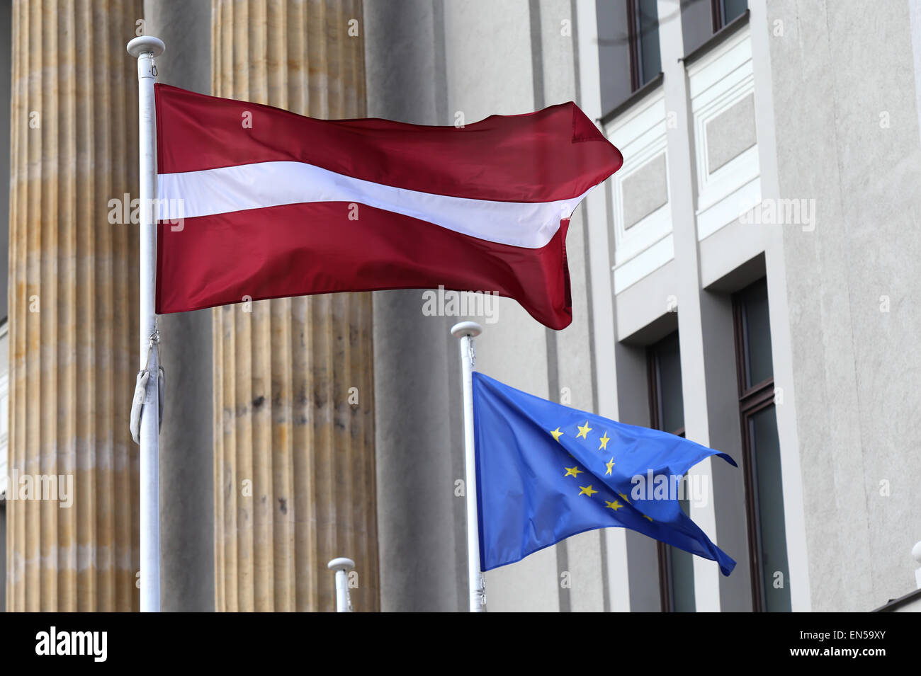 Latvian and European flags.Riga,Latvia,Europe - Stock Image