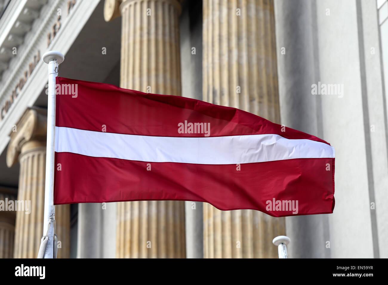 Latvian flag.Riga,Latvia,Europe Stock Photo