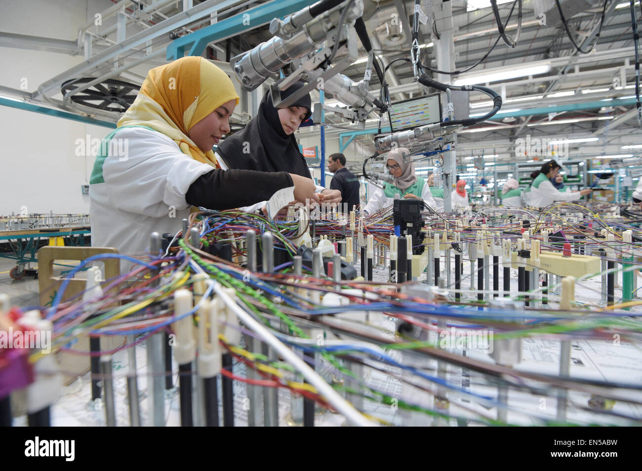Wiring Harness Stock Photos Images Alamy Jobs Usa Tunisian Employees Work On A