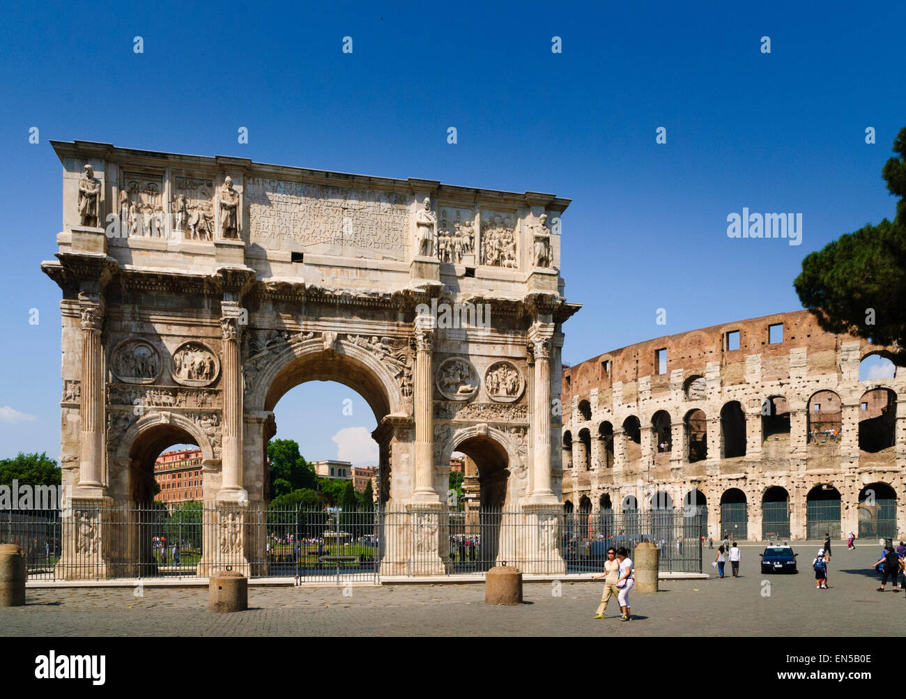 Arch of Constantine by the colosseum Rome Stock Photo