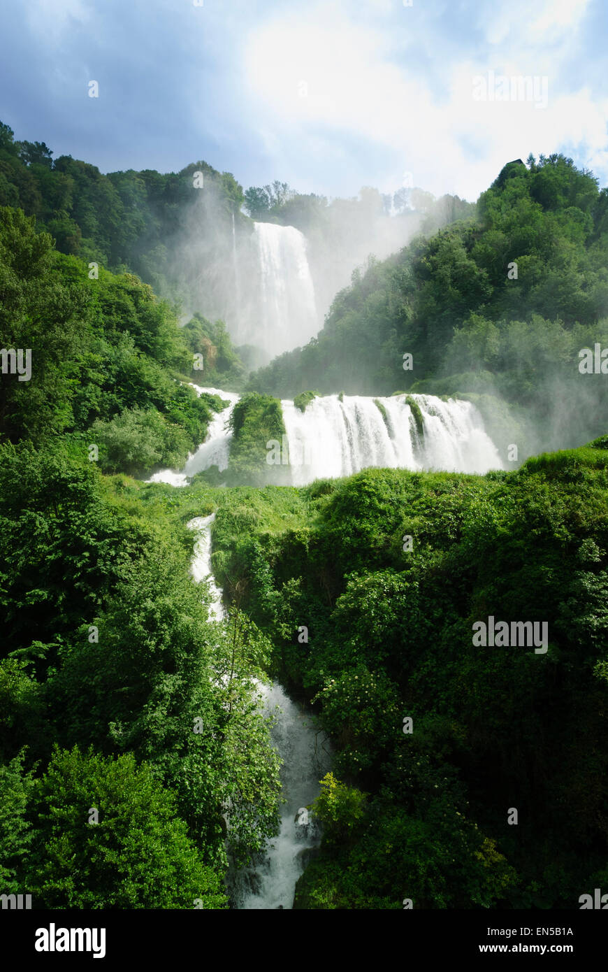 The power generation waterfall which is diverted for tourist effect of the cascata della Marmore, Umbria. Stock Photo