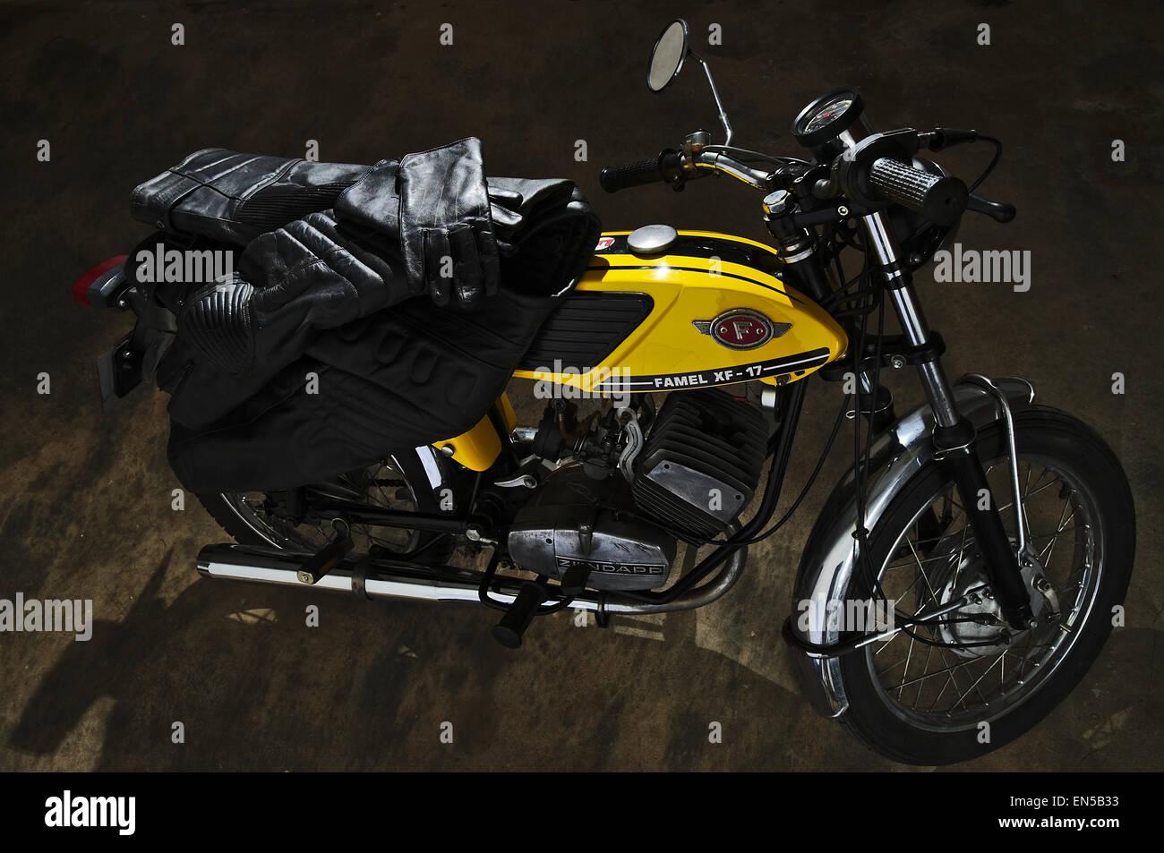 Classic Zundapp bike XF-17 in the garage - Stock Image