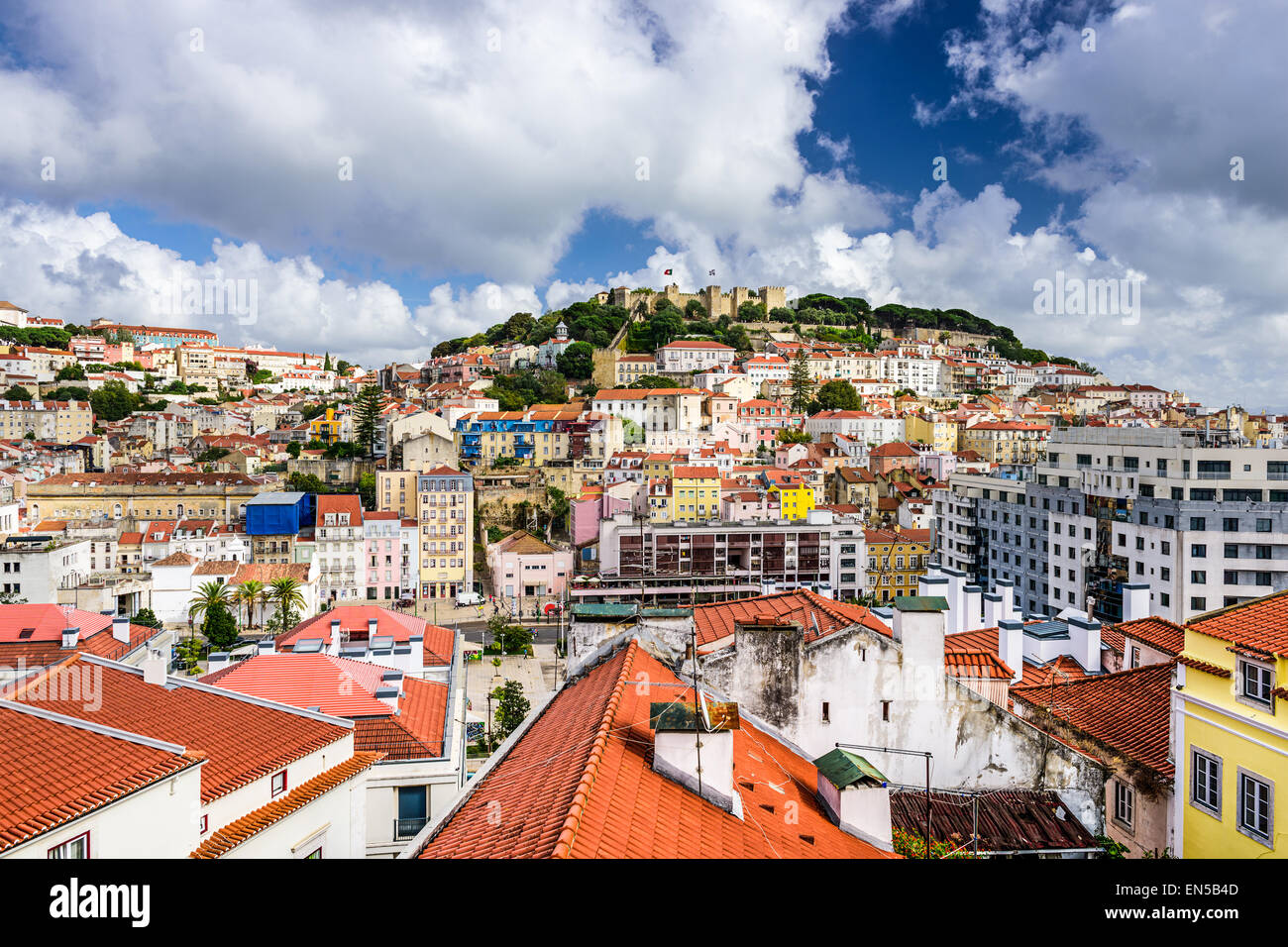Lisbon, Portugal cityscape towards Sao Jorge Castle. - Stock Image