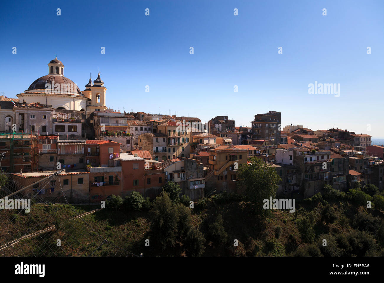 The town of Ariccia and Santa Maria Assunta in Cielo chorch dome viewed from the bridge - Stock Image