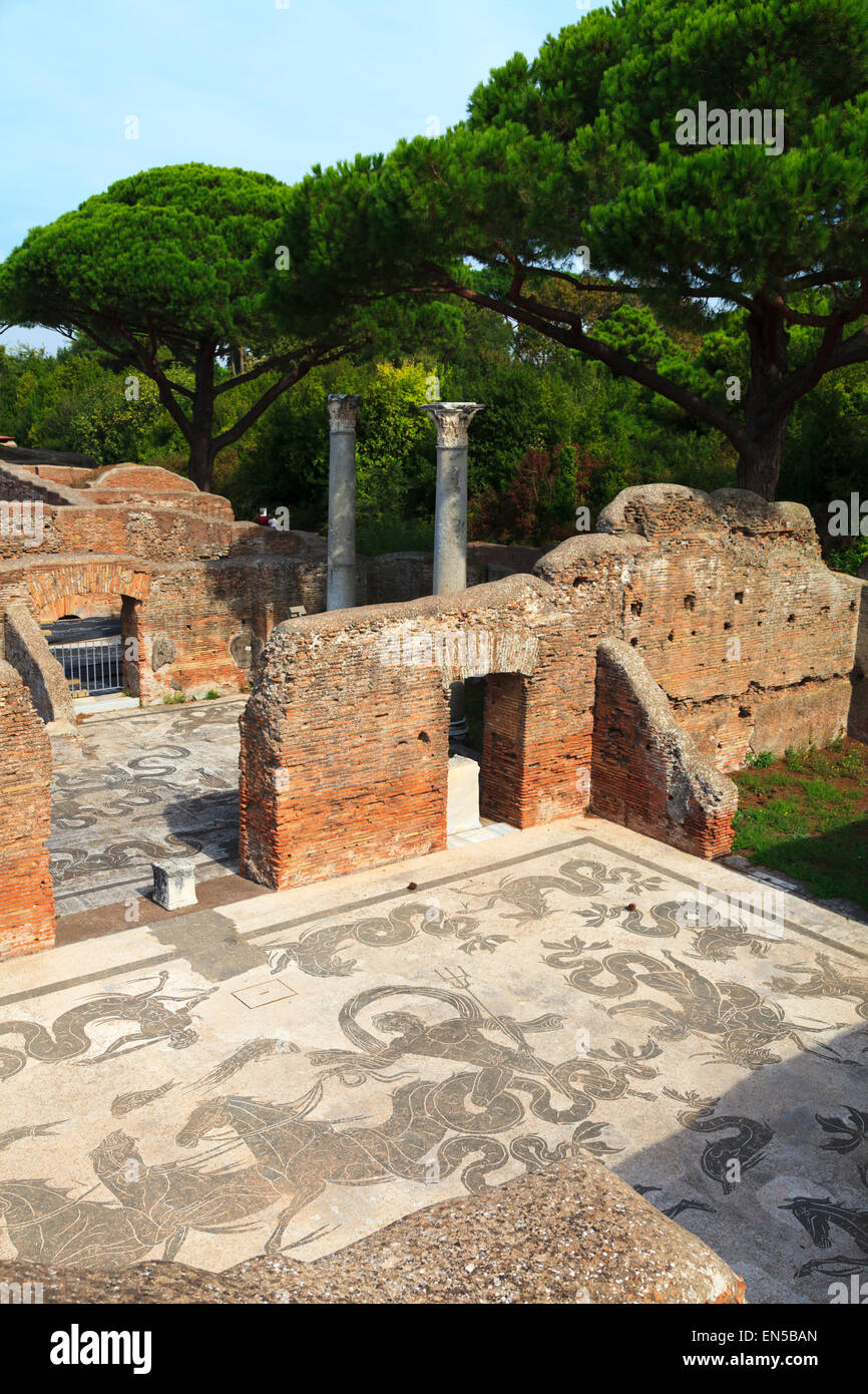 Mosaic at Terme di Nettuno at The ancient roman port town ruin of Ostia near Rome - Stock Image