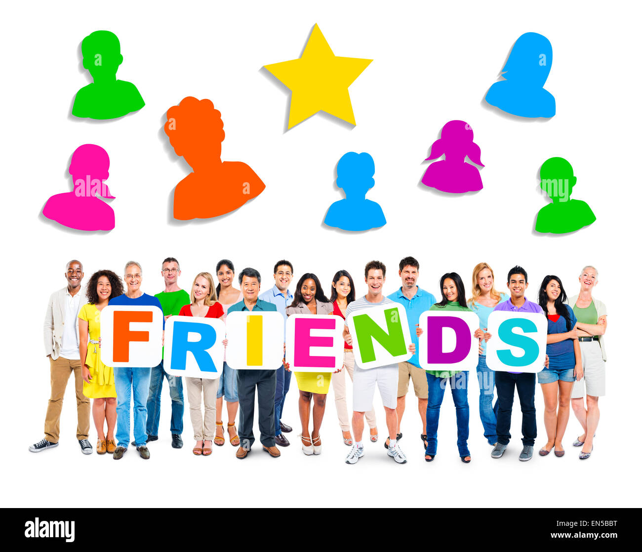 Large group of diverse multi-ethnic people holding white cardboards forming the word 'FRIENDS'. - Stock Image