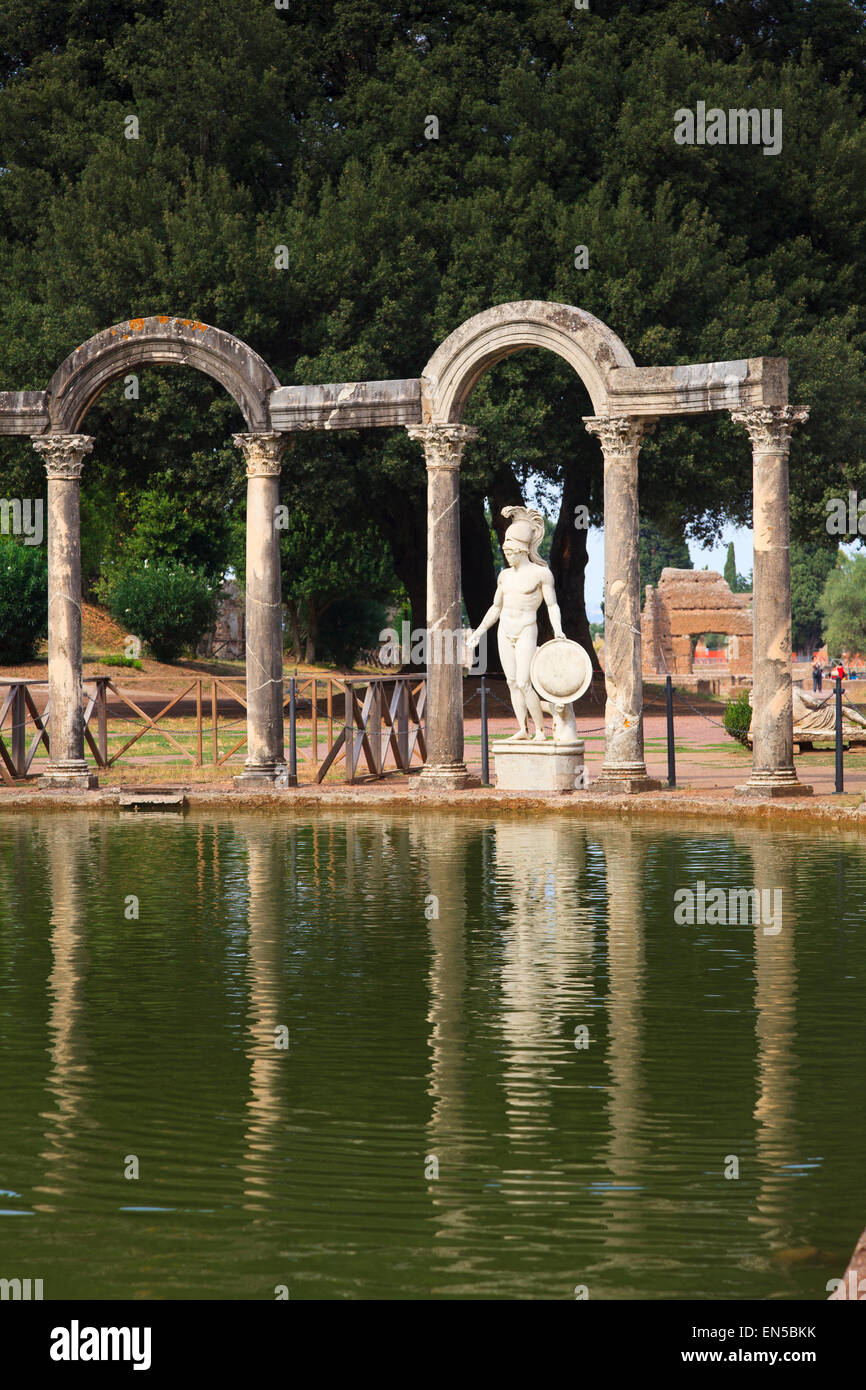 Ares - or Hermes statue in the colonnade  at the end of the Canopus at Hadrian's Villa, Tivoli, Italy - Stock Image