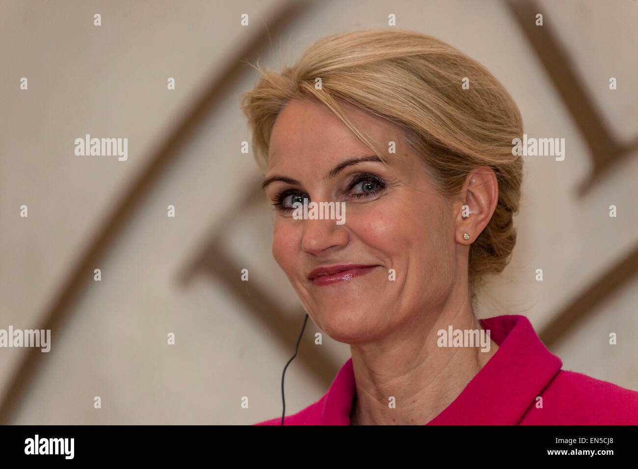 Kongens Lyngby, Denmark, April 28th, 2015. Danish PM Helle Thorning-Schmidt pictured at the press meeting with Chancellor - Stock Image