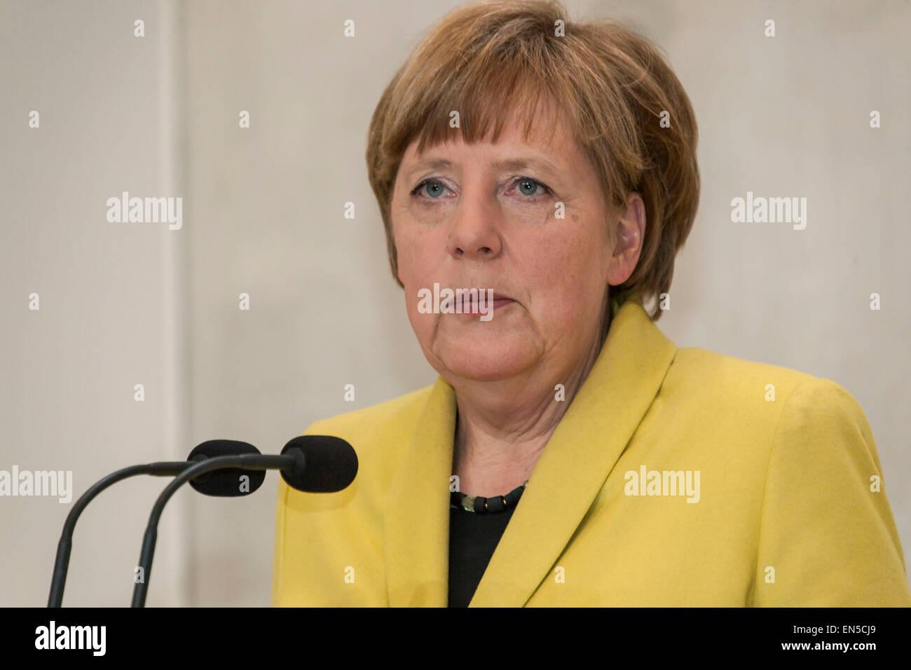 Kongens Lyngby, Denmark, April 28th, 2015. Chancellor Angela Merkel said at the press meeting at Marienborg north - Stock Image