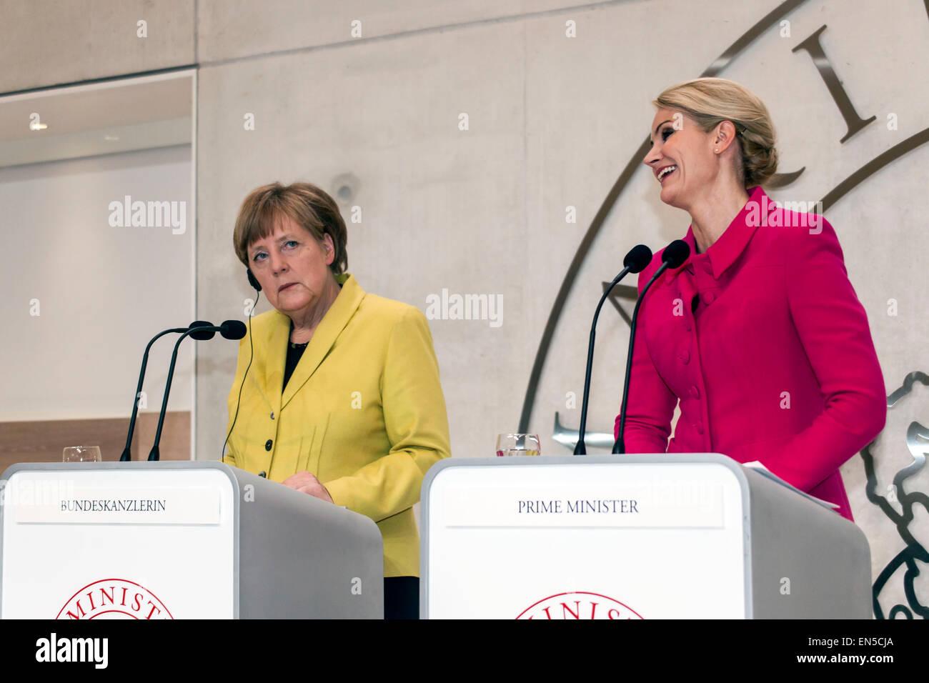 Kongens Lyngby, Denmark, April 28th, 2015. Danish M Helle Thorning-Schmidt (R) and German Chancellor Angela Merkel - Stock Image