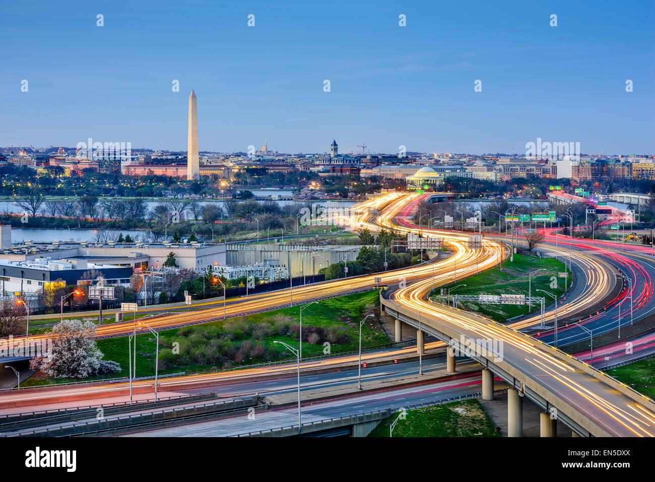 Washington, DC skyline of monuments and highways. - Stock Image