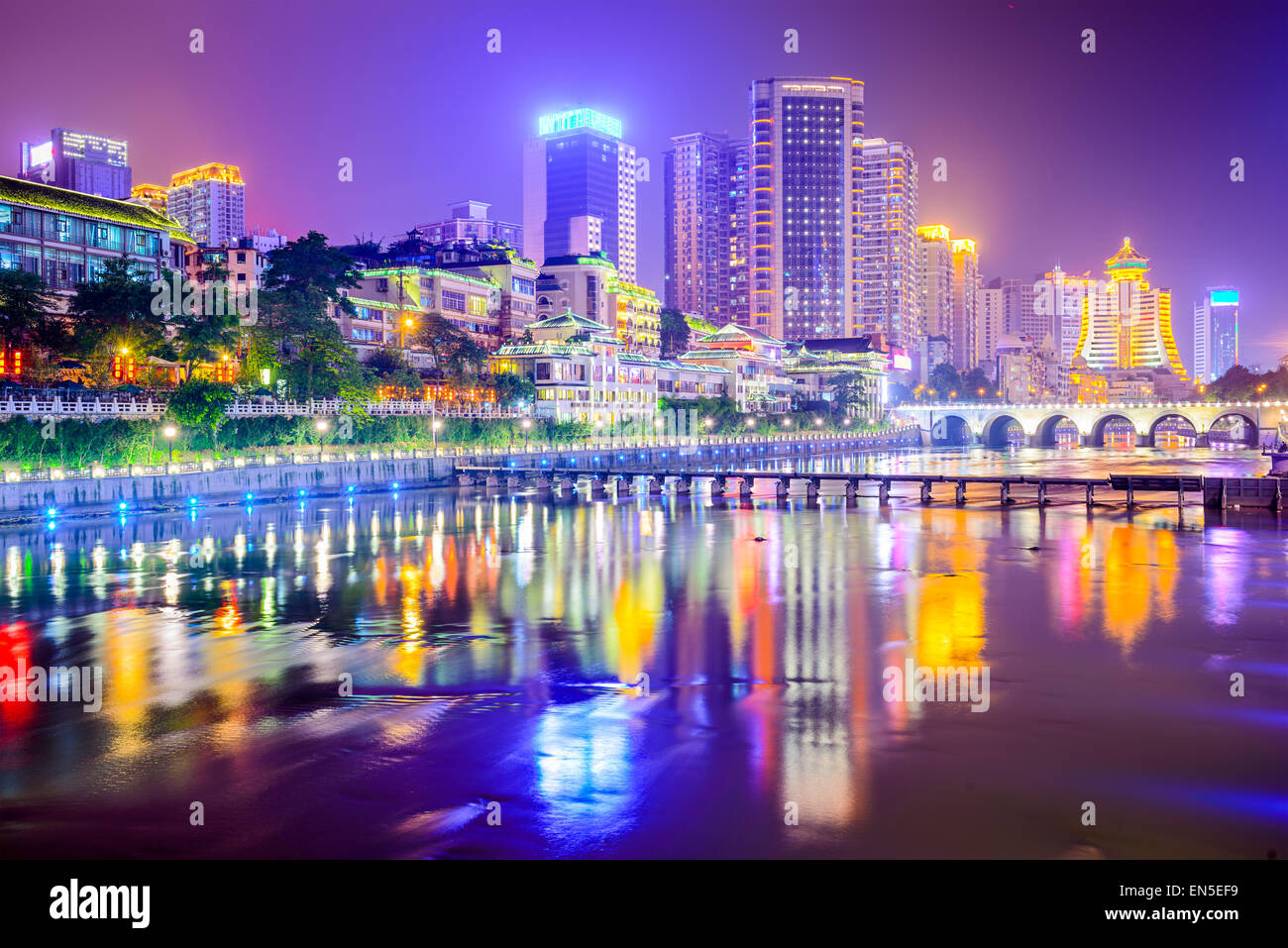 Guiyang, China cityscape on the river. - Stock Image