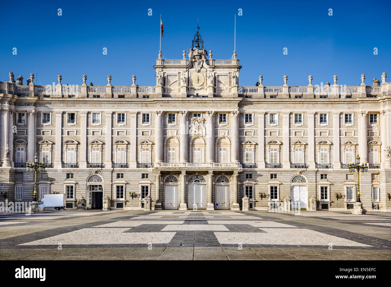 Madrid, Spain at the Royal Palace's courtyard. - Stock Image