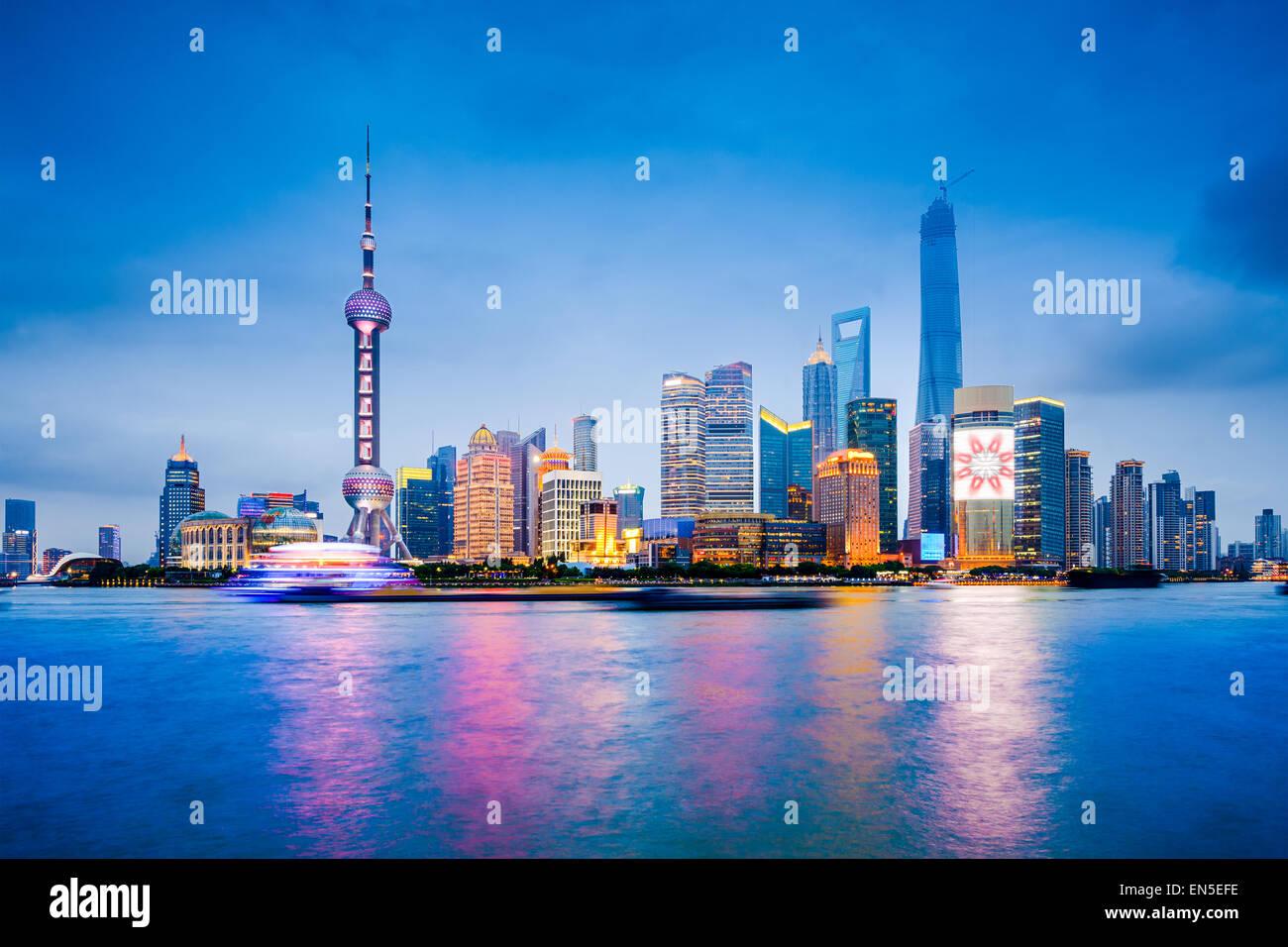 Shanghai, China financial district skyline on the Huangpu River. - Stock Image