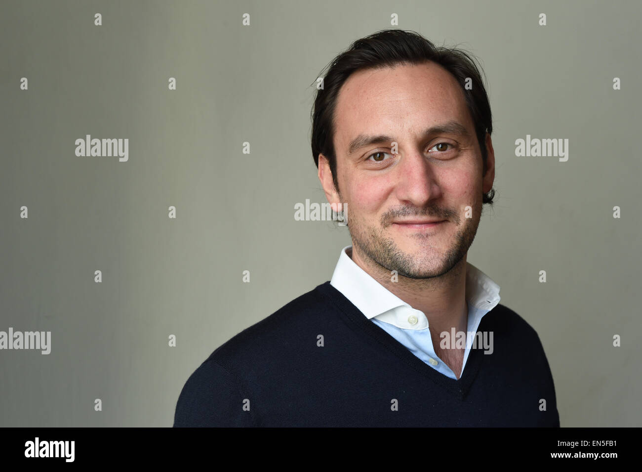 Berlin, Germany. 17th Apr, 2015. Founder and CEO of Food Express Benjamin Pochhammer poses in Berlin, Germany, 17 - Stock Image