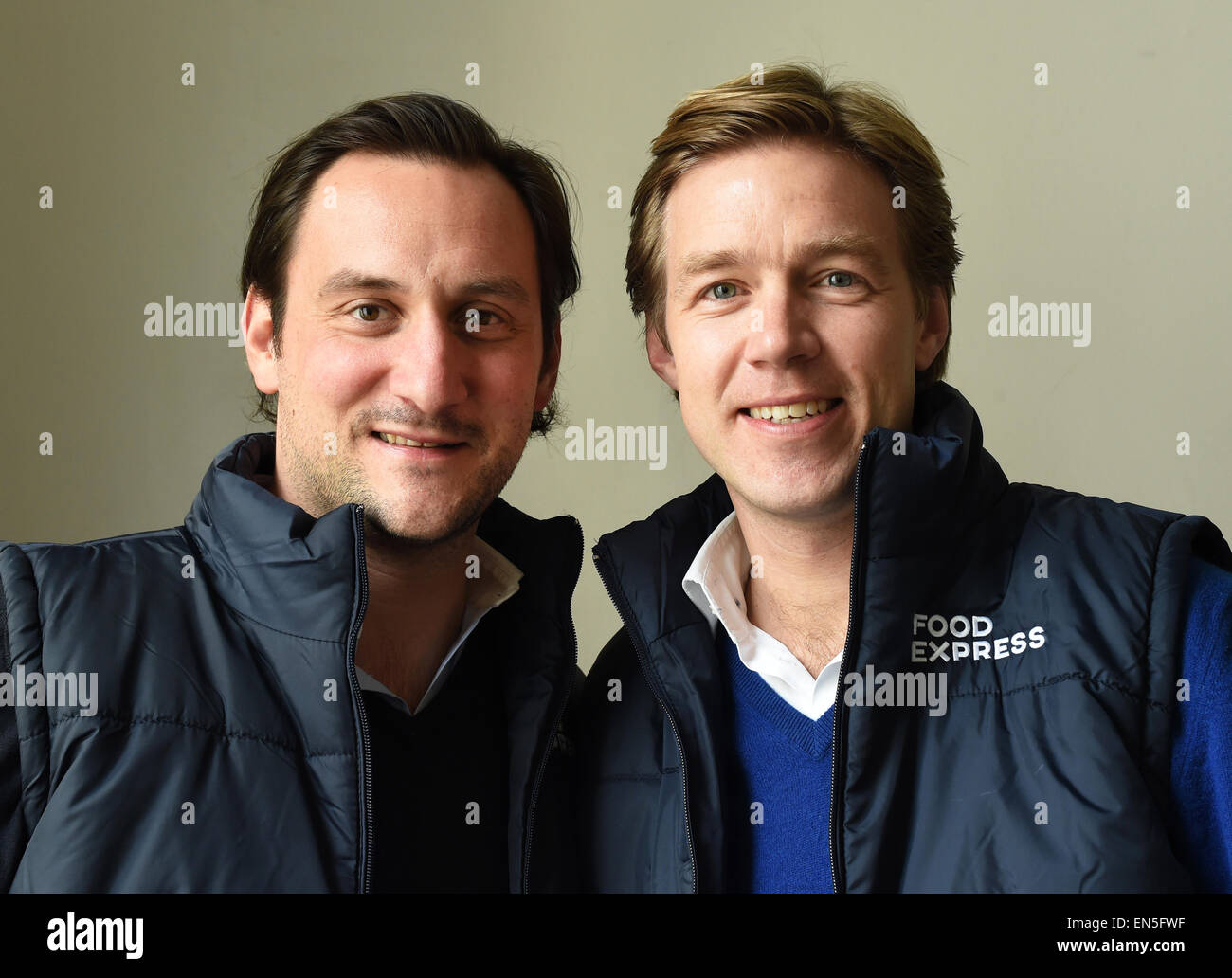 Berlin, Germany. 17th Apr, 2015. Founder and CEOs of Food Express Benjamin Pochhammer (L) and Max von Waldenfels - Stock Image