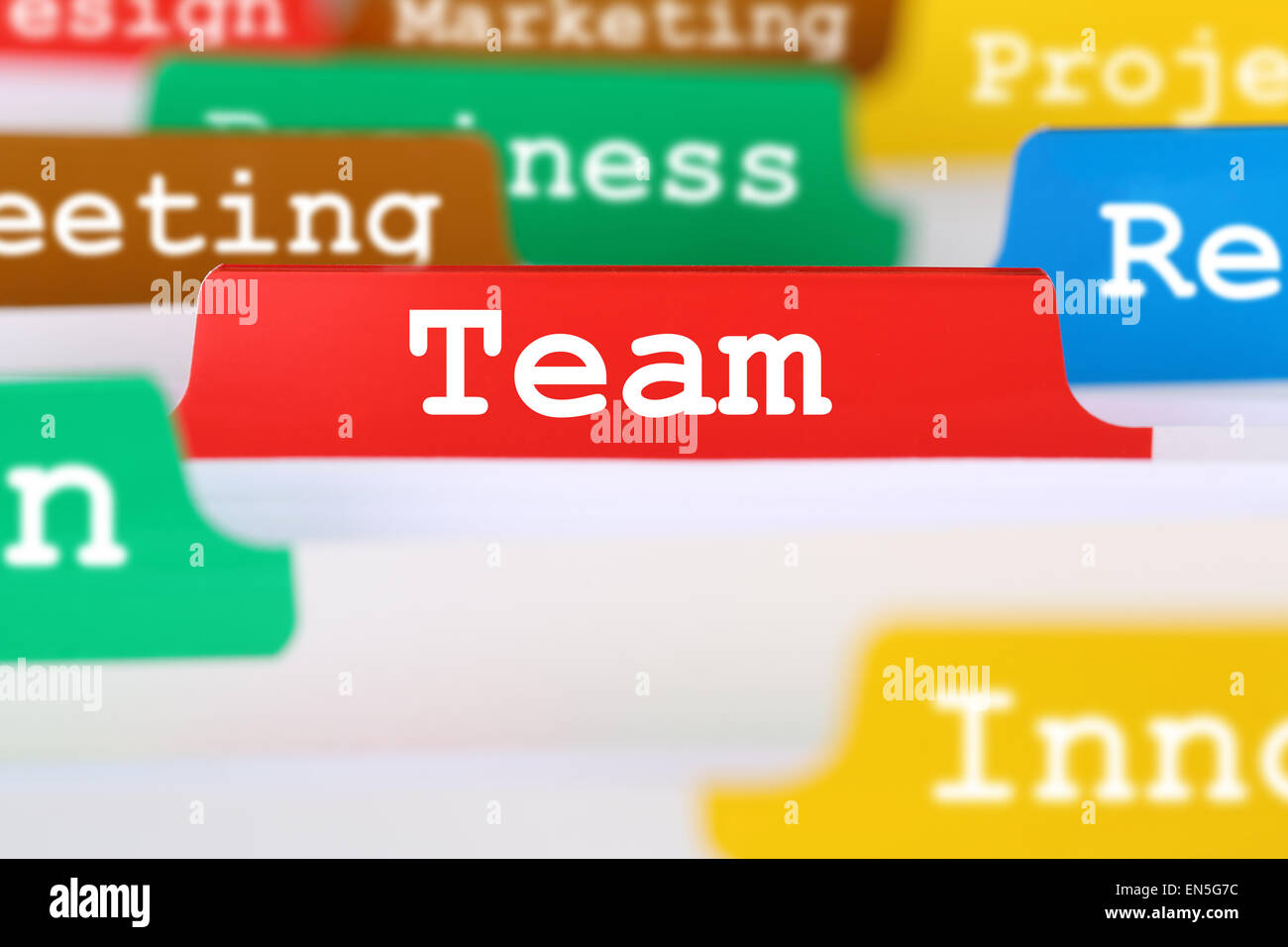 Together community team or teamwork office text on register in business services documents - Stock Image