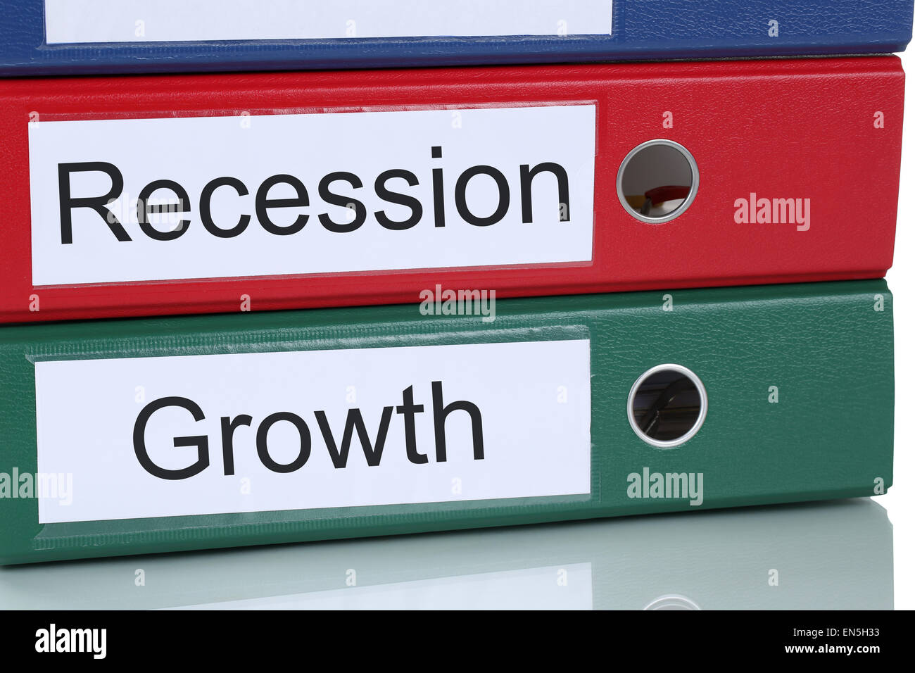 Growth success and recession crisis in office company business concept - Stock Image