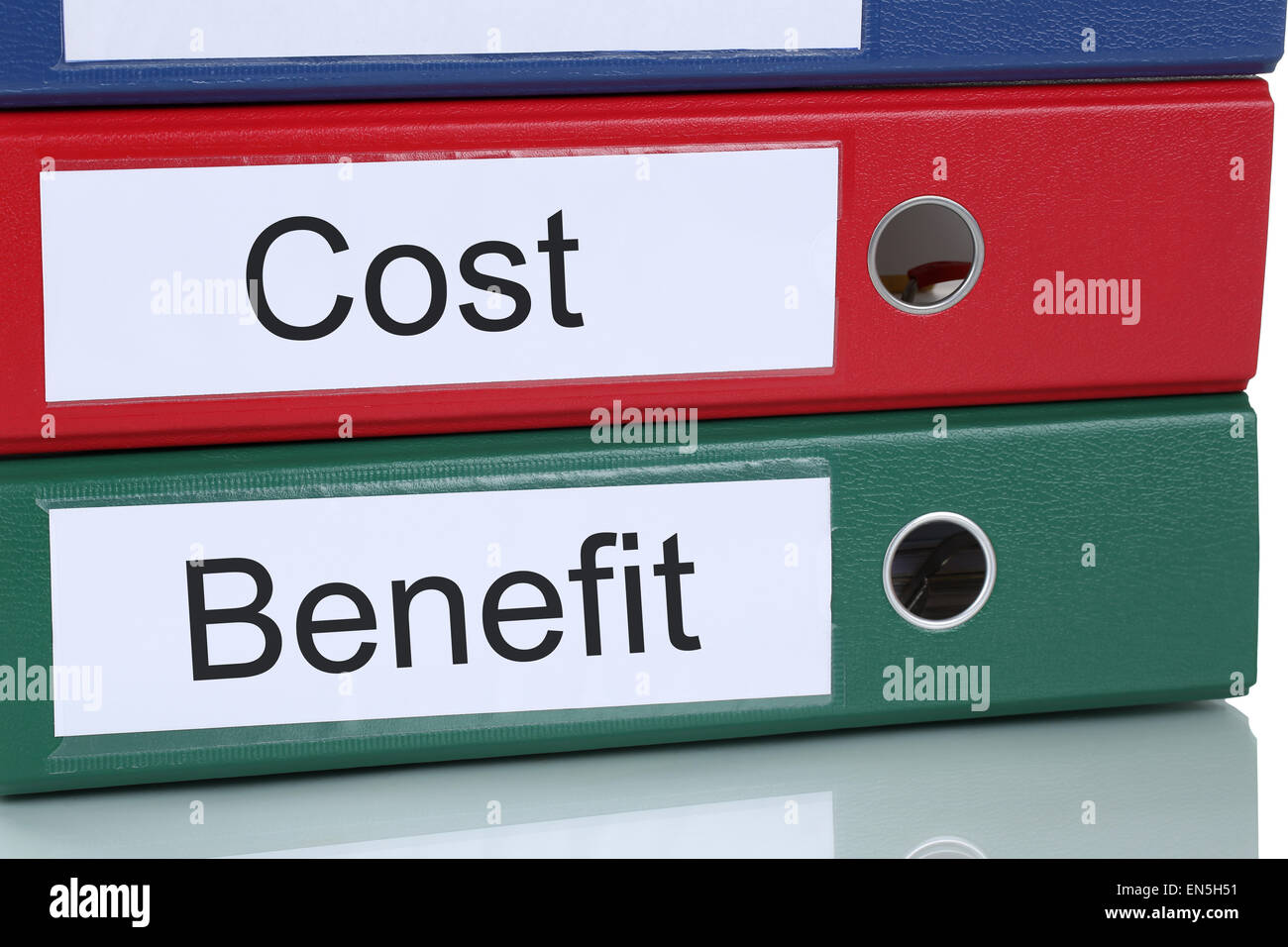 Cost benefit calculation analysis expenses finances in company business concept - Stock Image
