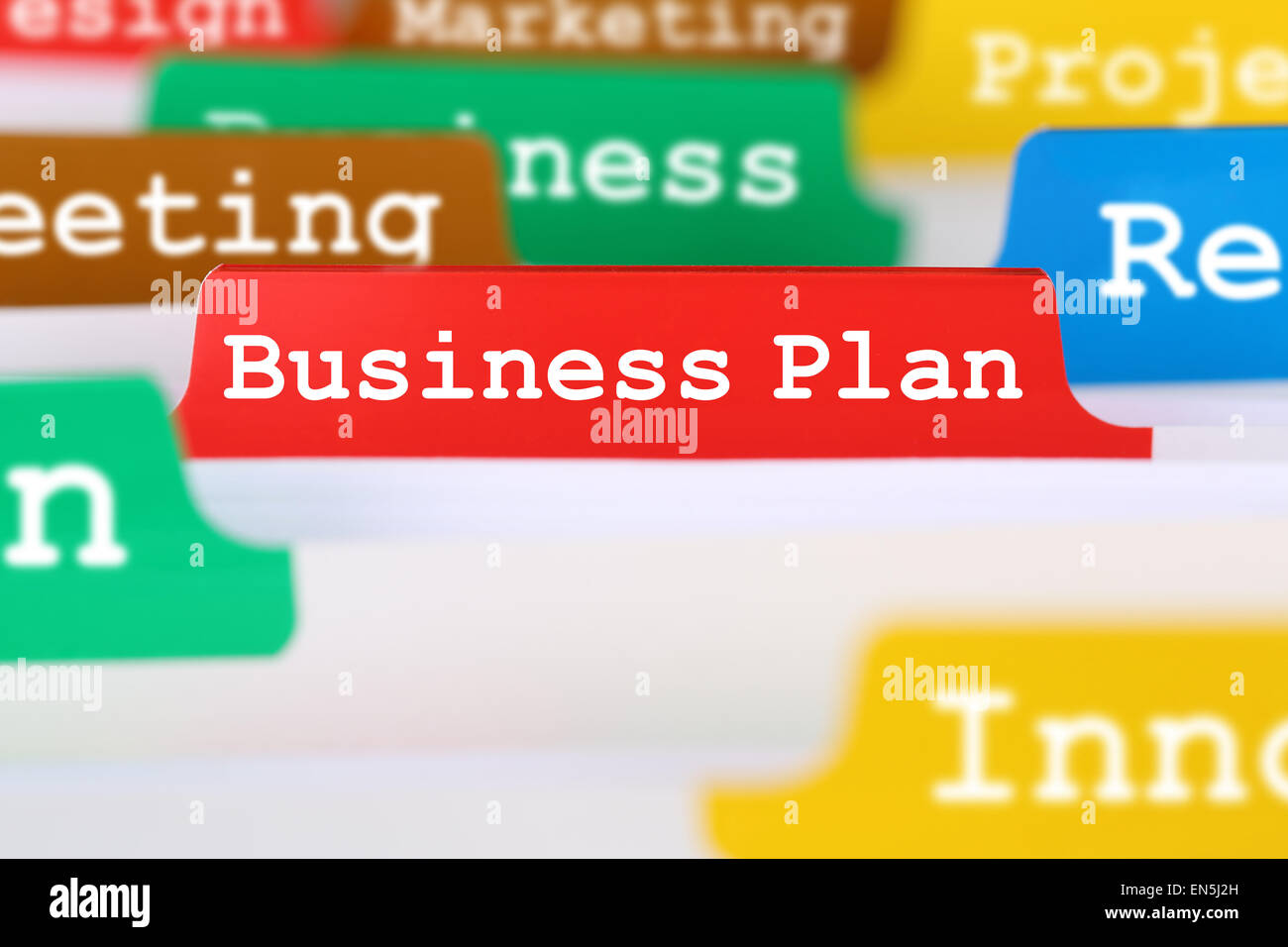 Business plan concept for success and growth when launching a new company or start up - Stock Image