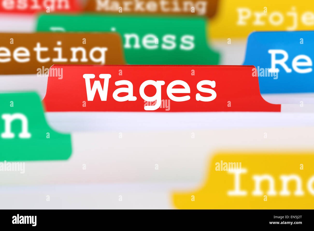 Employee wages and salary financial business concept register in documents - Stock Image
