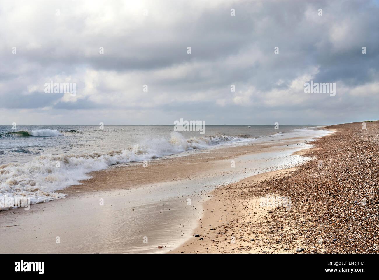 Stormy Coastal seascape near Kessingland in East Anglia, England - Stock Image