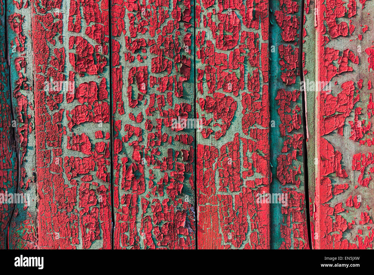 Painted Wood Plank Vintage Texture Background Red Closeup Cracked Peel Off - Stock Image