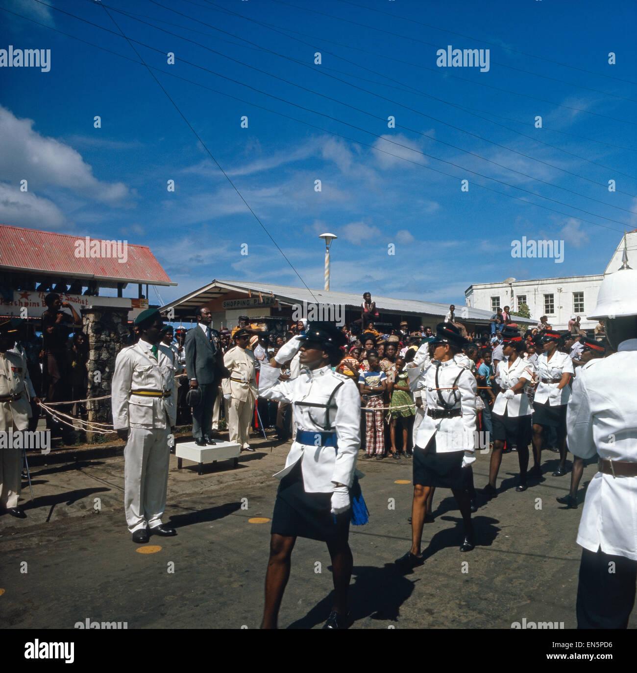 Sir Eric Matthew Gairy, der erste Premierminister Grenadas, während einer Parade am Nationalfeiertag, dem 7. - Stock Image